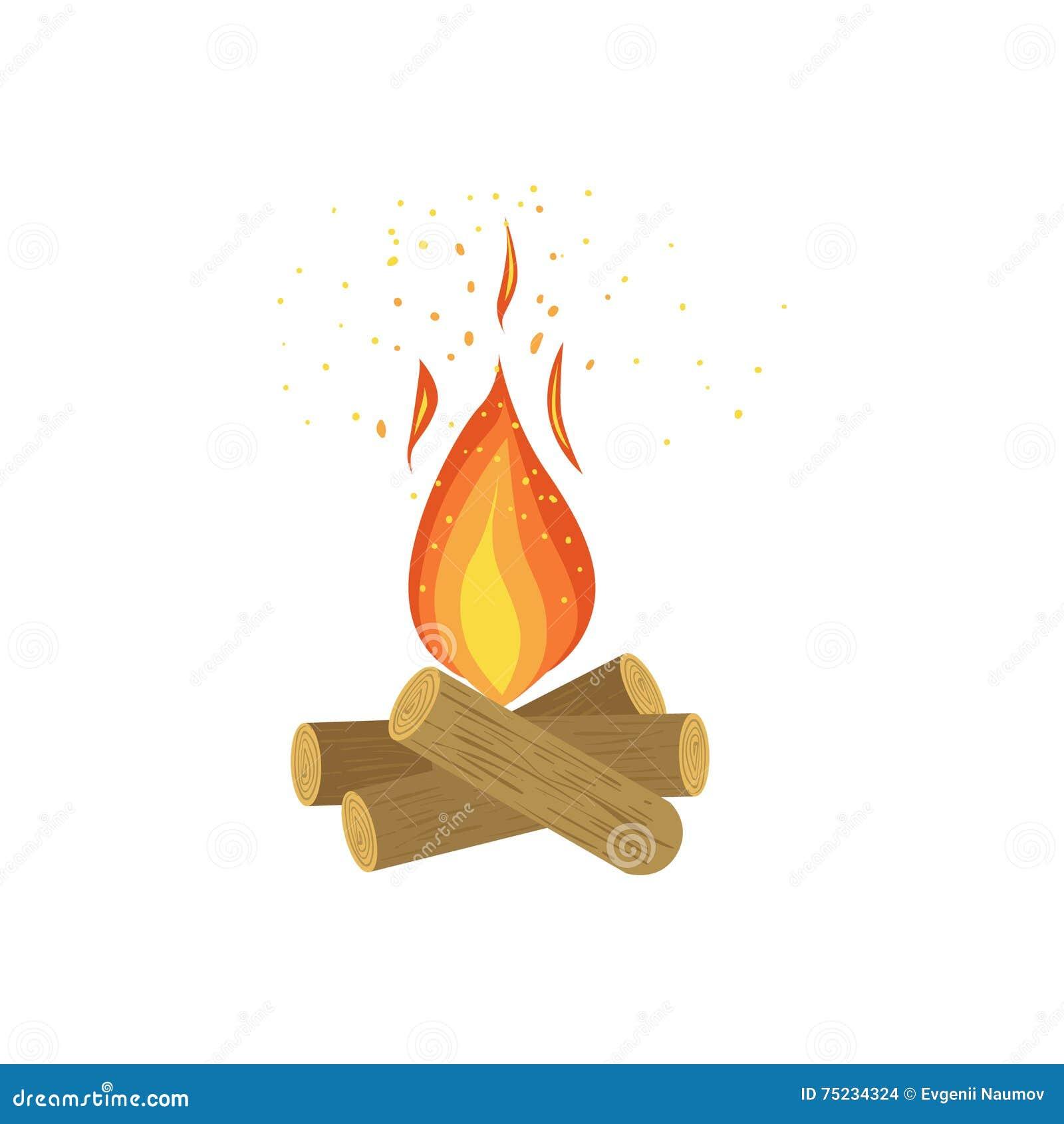 Огонь лагеря на журналах древесины