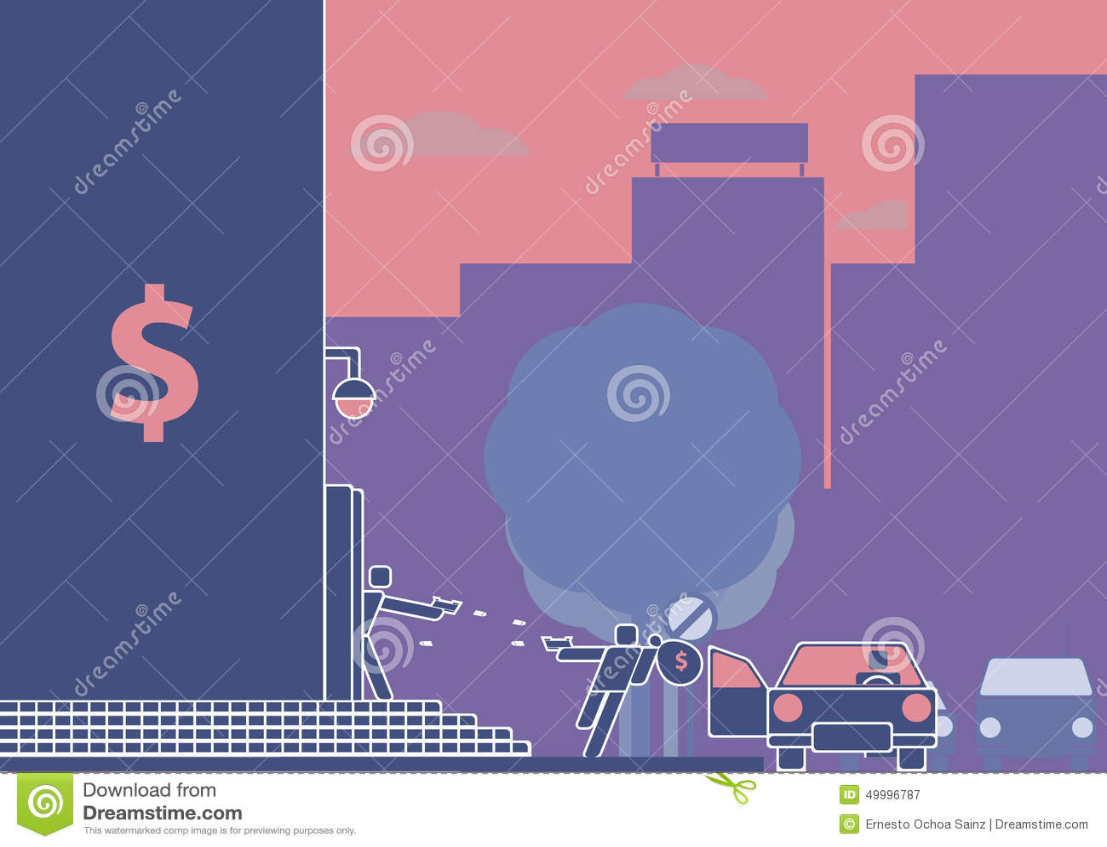 Ограбление банка или вооружённое ограбление в прогрессе Пиктограмма/плоский стиль дизайна