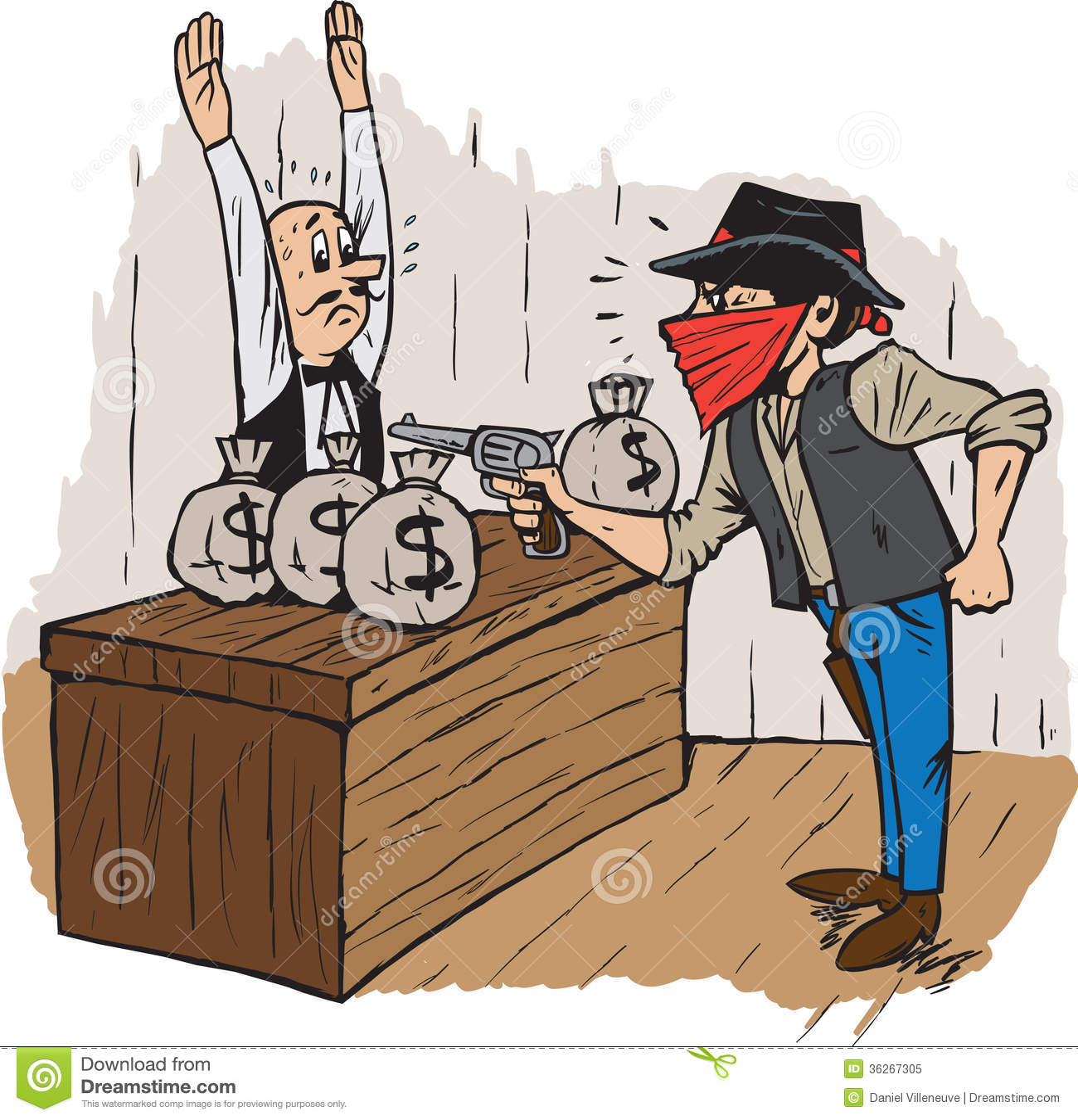 Ограбление банка рисунками
