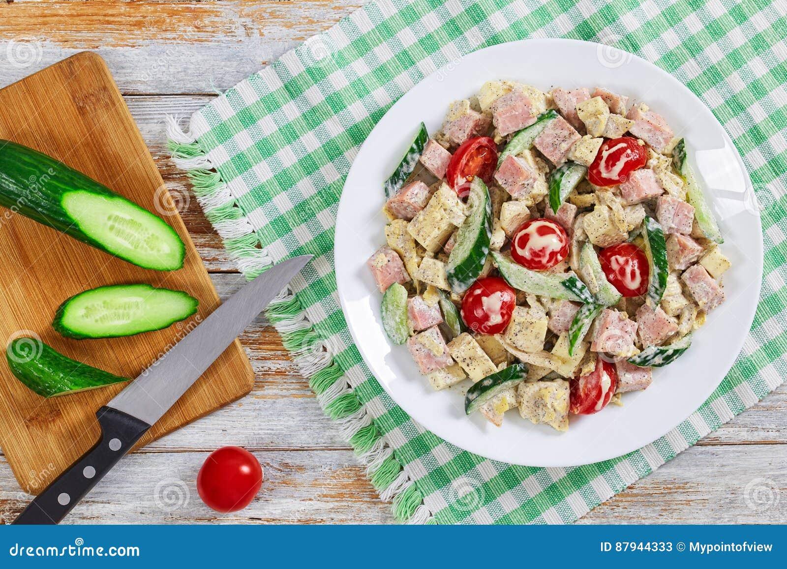 ветчина огурец сыр салат
