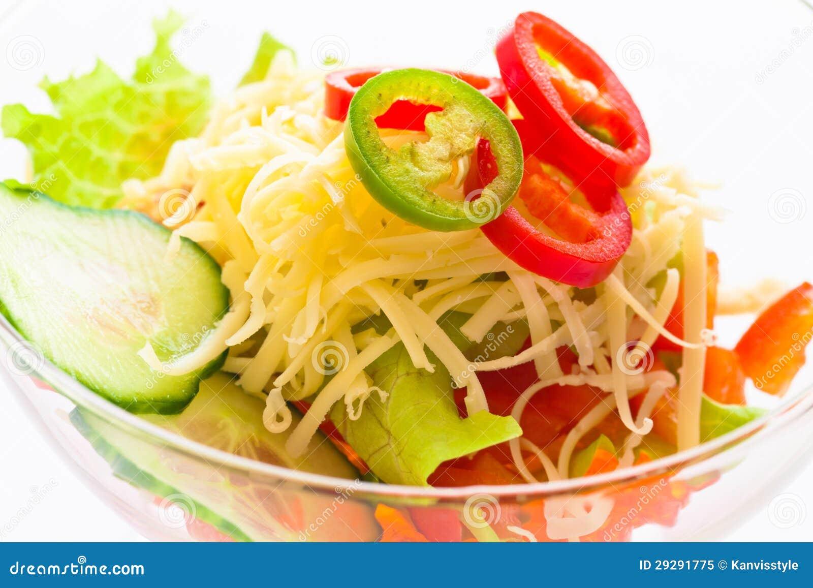 Огурец, томат, сыр и гранатовое дерево овоща салата