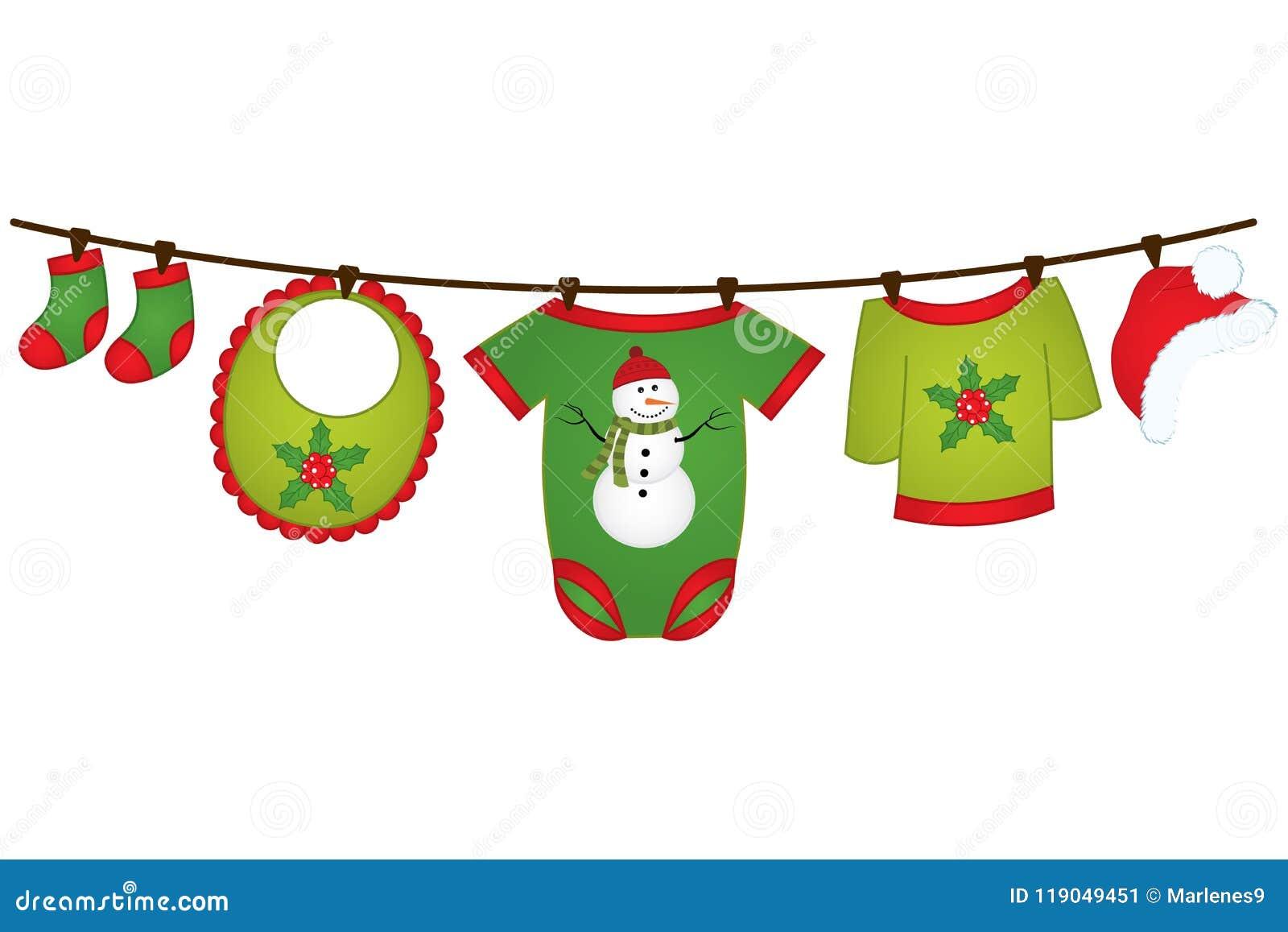 Одежды младенца рождества вектора вися на линии Элемент дизайна вектора для детского душа, приглашения, scrapbook, карт Bab векто