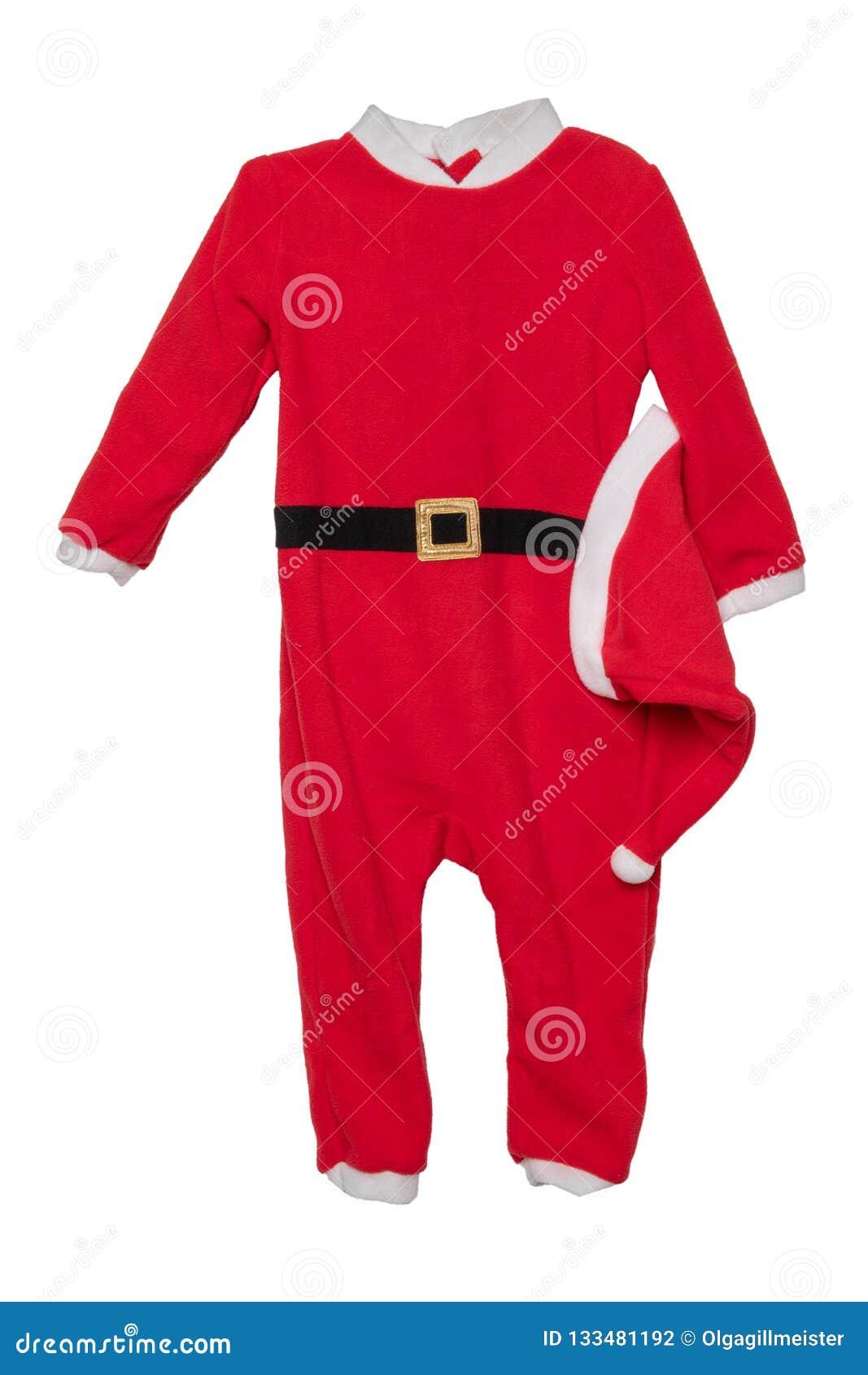Одежды рождества Конец-вверх красного ju Санта Клауса рождества детей