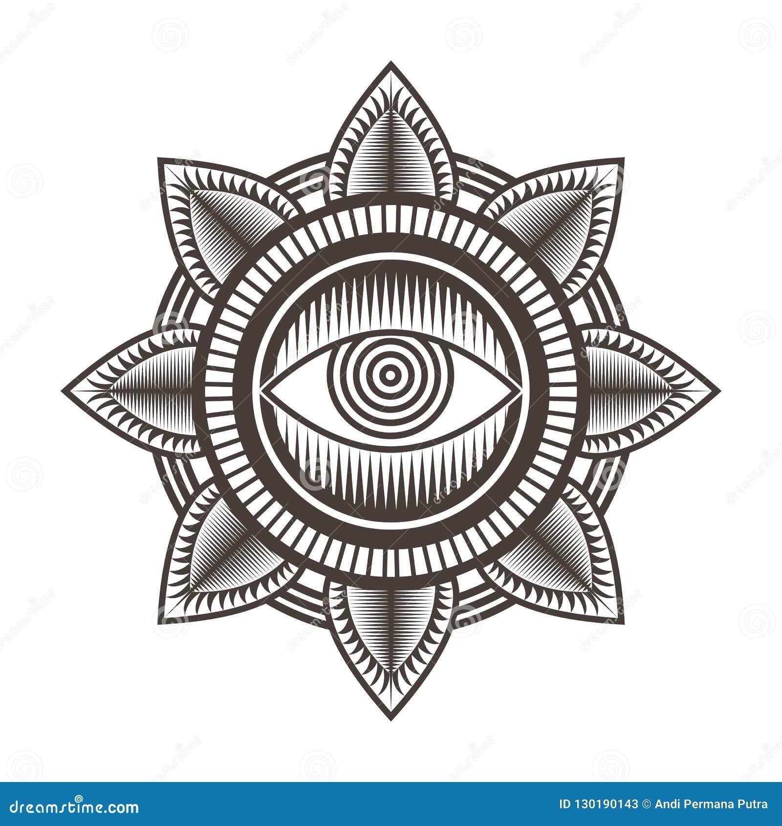 Одна иллюстрация вектора предпосылки скороговорки мандалы глаза
