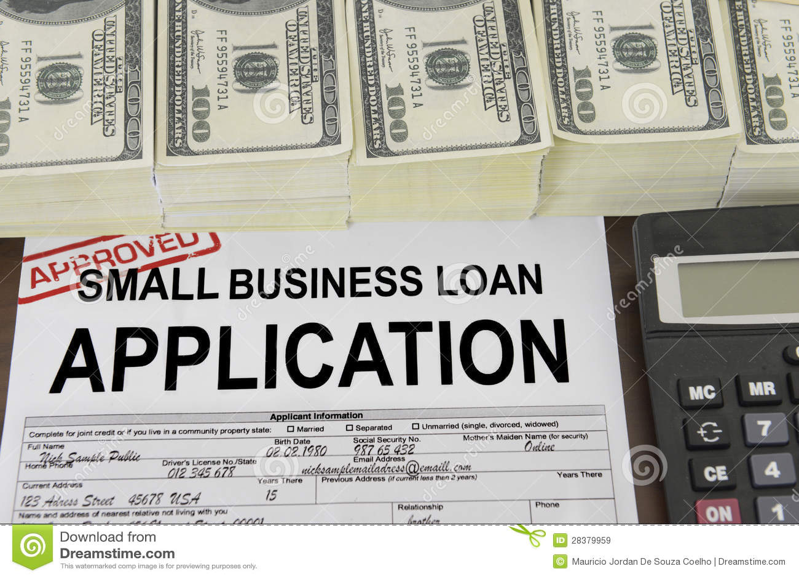 Одобренные форма для заявления и деньги займа мелкого бизнеса