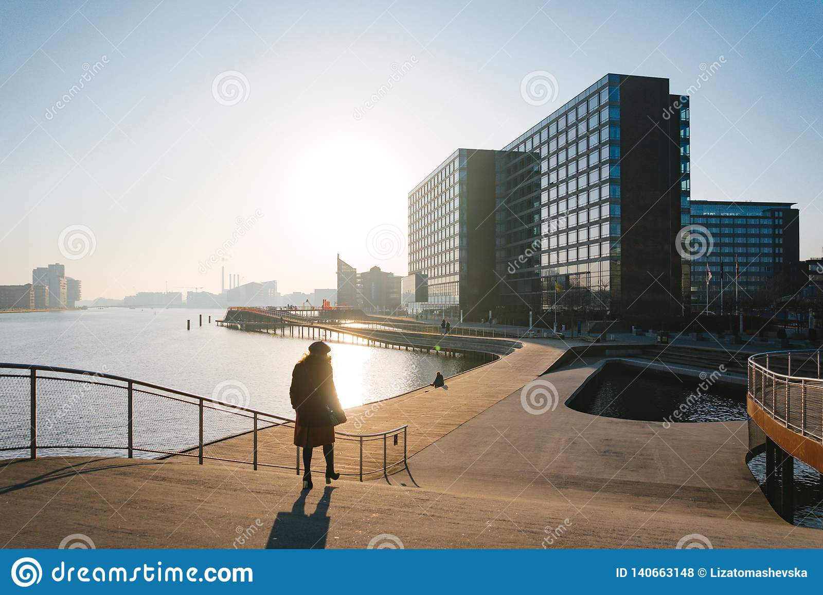 18-ое февраля 2019 Город Копенгагена, Дании Деревянный обваловка Kalvebod Брюгге около реки Городской пейзаж в зиме в солнечном