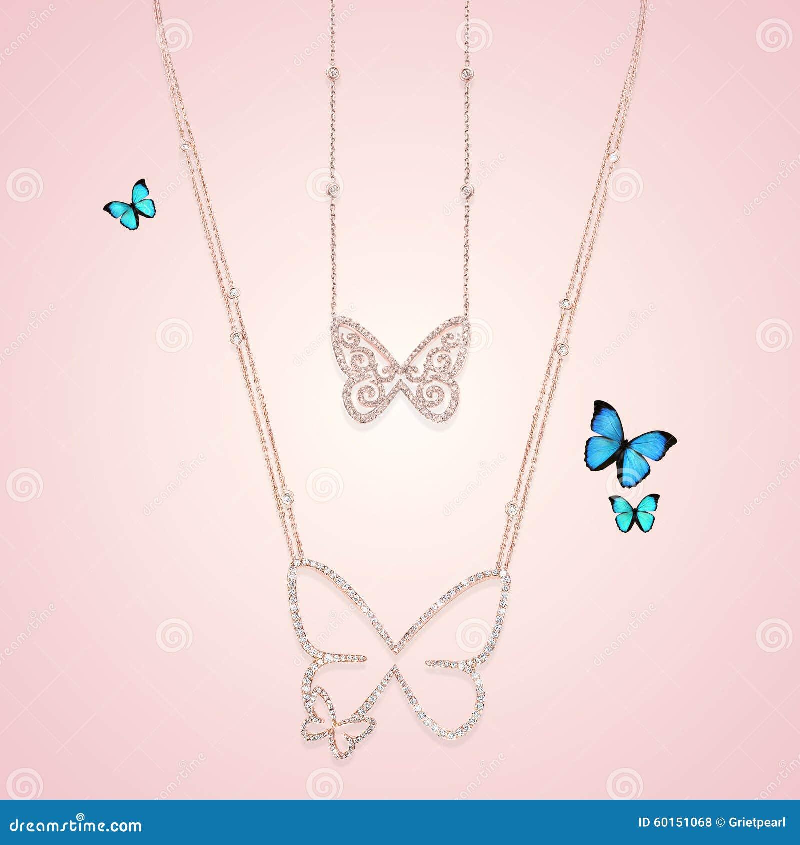 Ожерелья ювелирных изделий золота диаманта с бабочкой