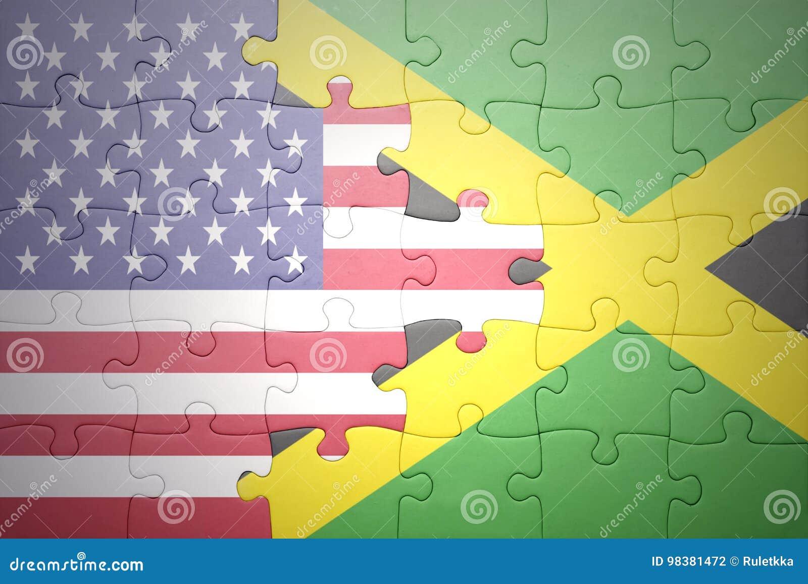 Озадачьте с национальными флагами Соединенных Штатов Америки и ямайки
