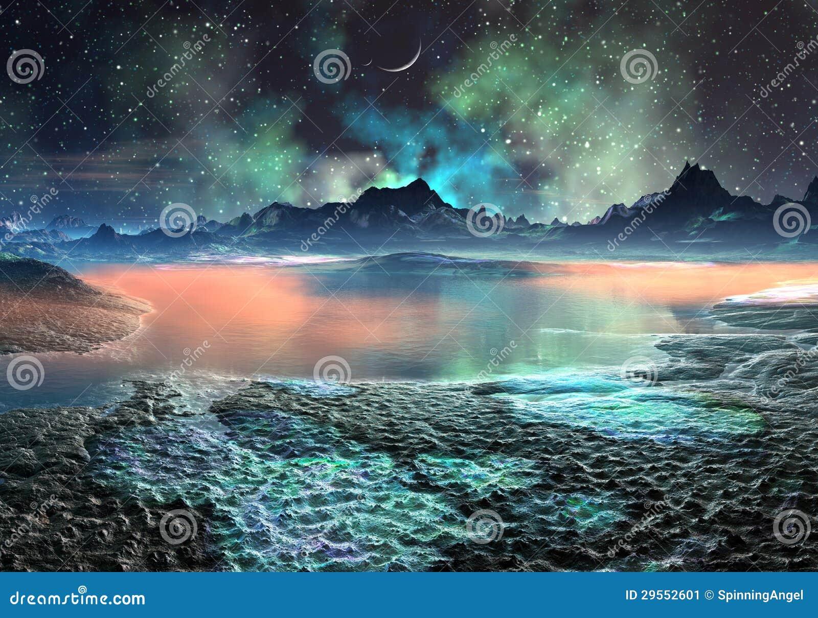 Озеро и горы на дистантном мире