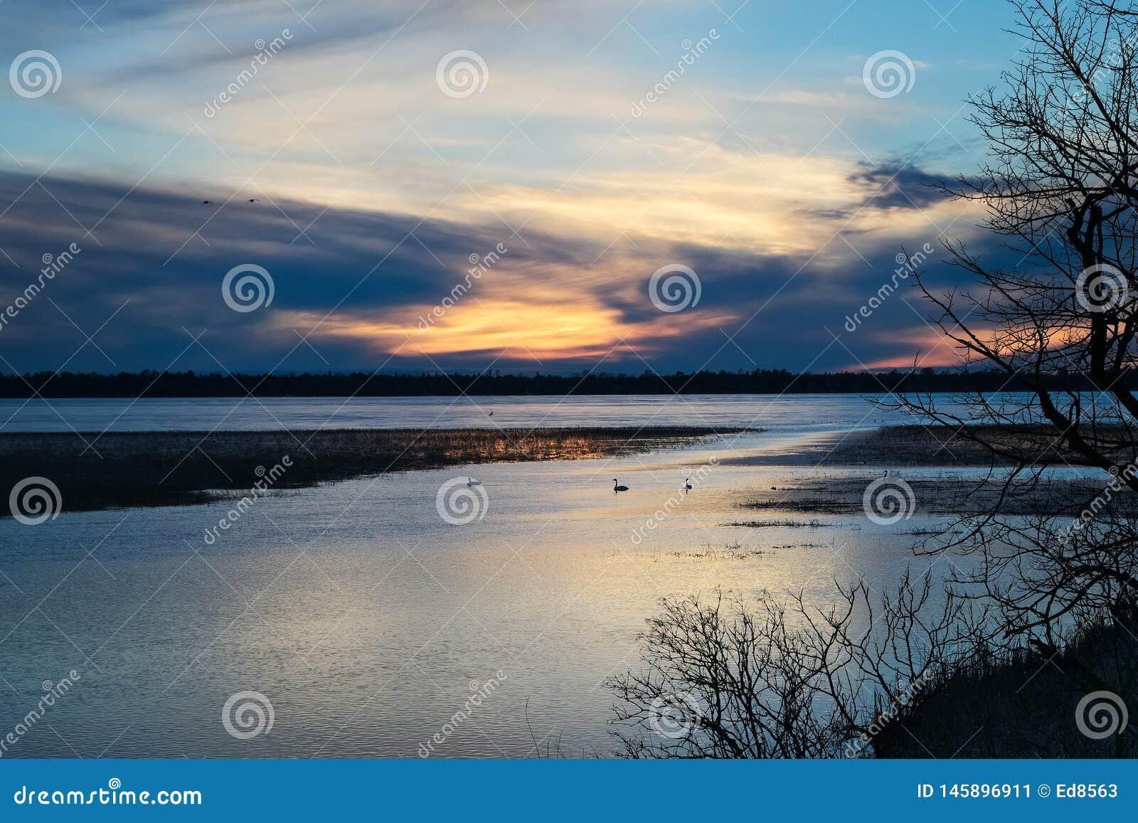 Озеро Bemidji, Минесота на выходе реки Миссисипи на заходе солнца