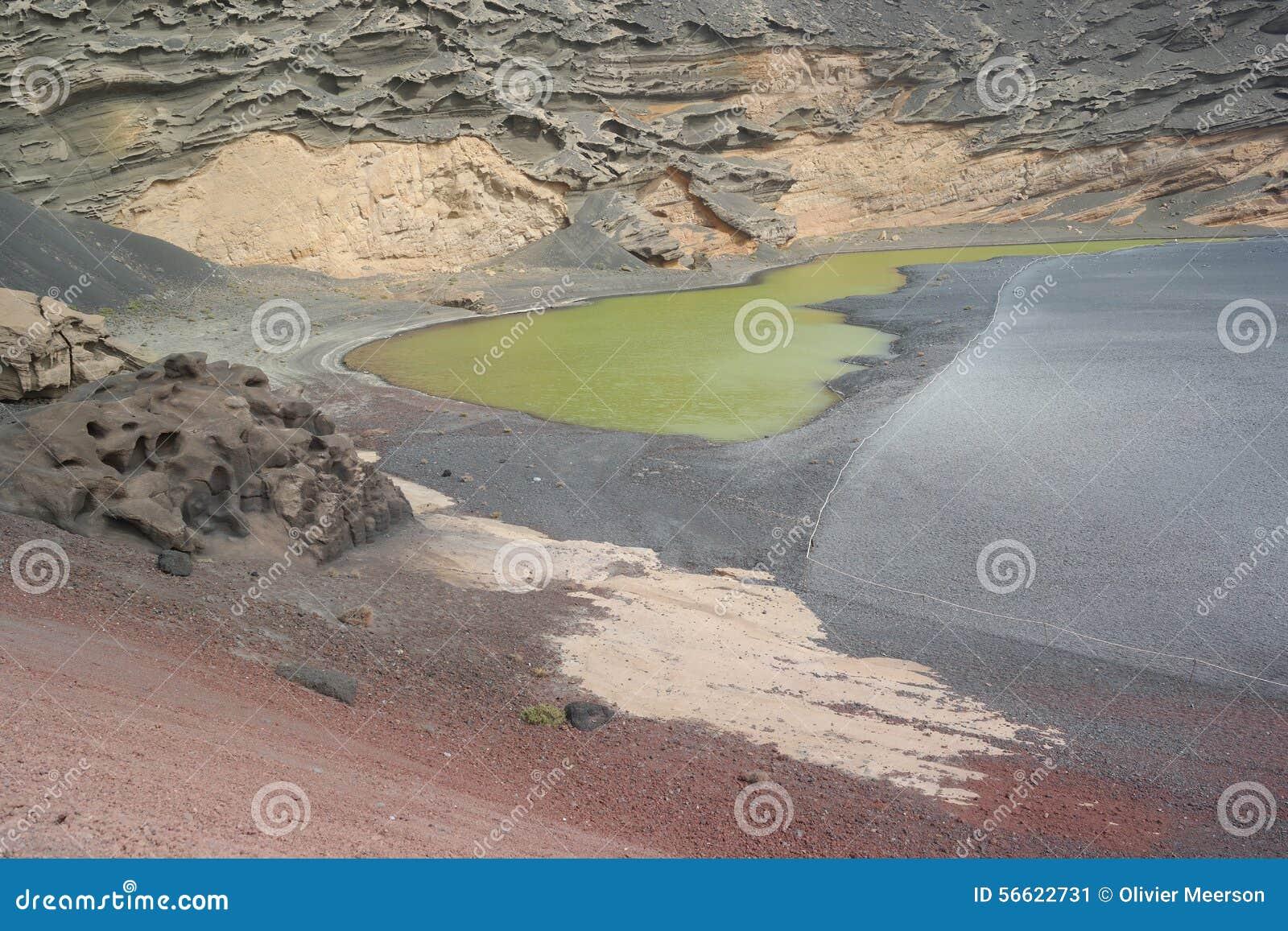 Озеро golfo El, Лансароте, острова canaria