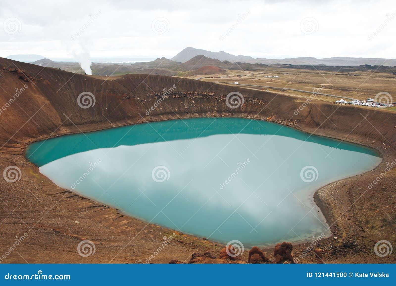Озеро Myvatn Исландия кратер Viti