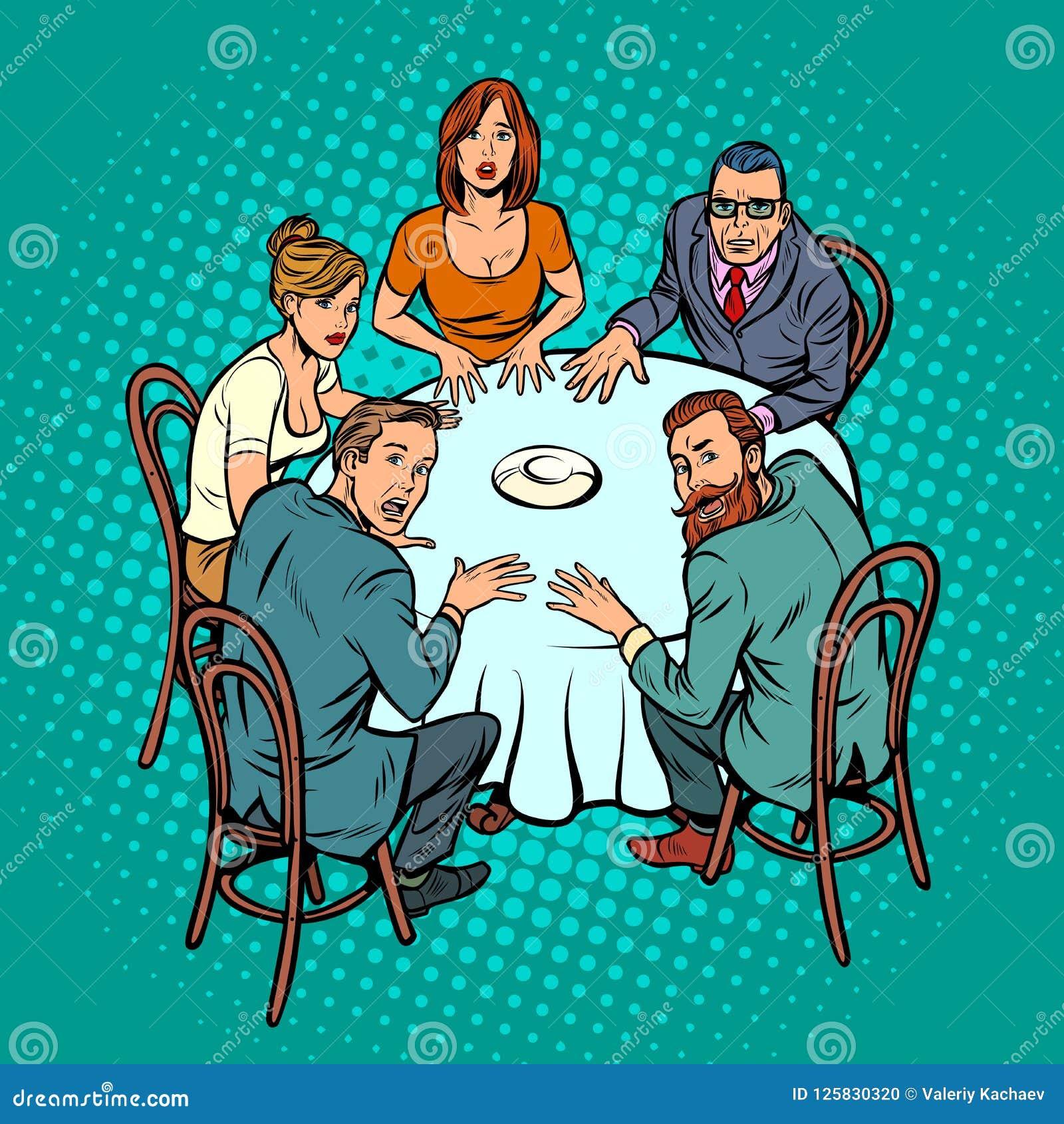 Оккультный seance, люди на таблице