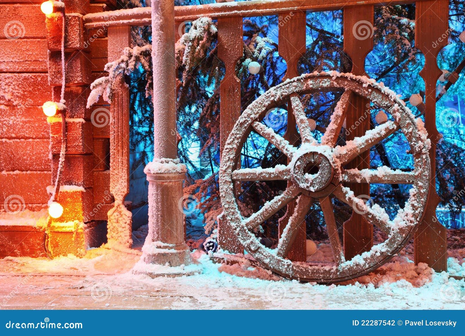 около колеса стойки снежка railing деревянного