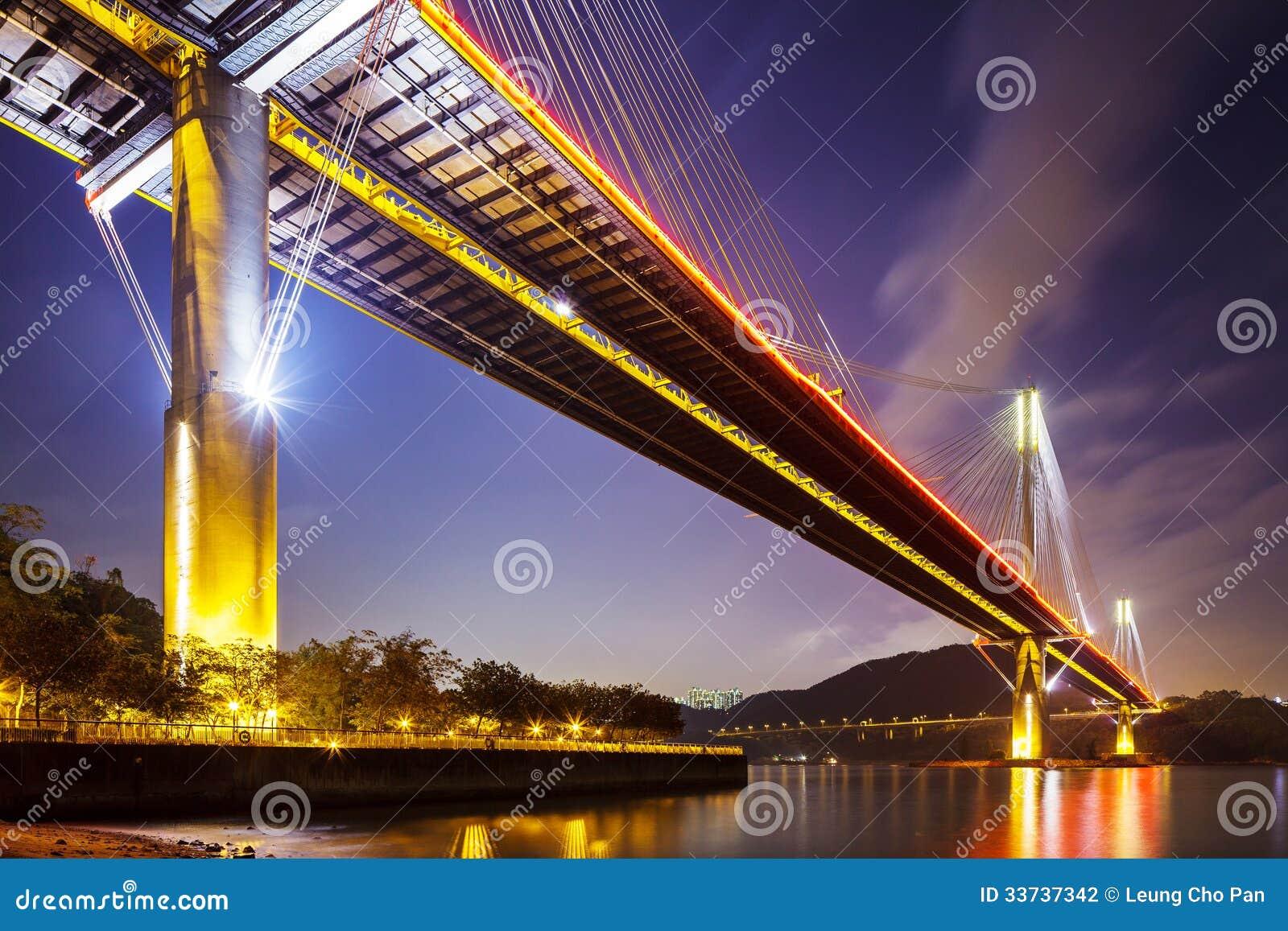 Окрашивайте висячий мост Kau в Гонконге