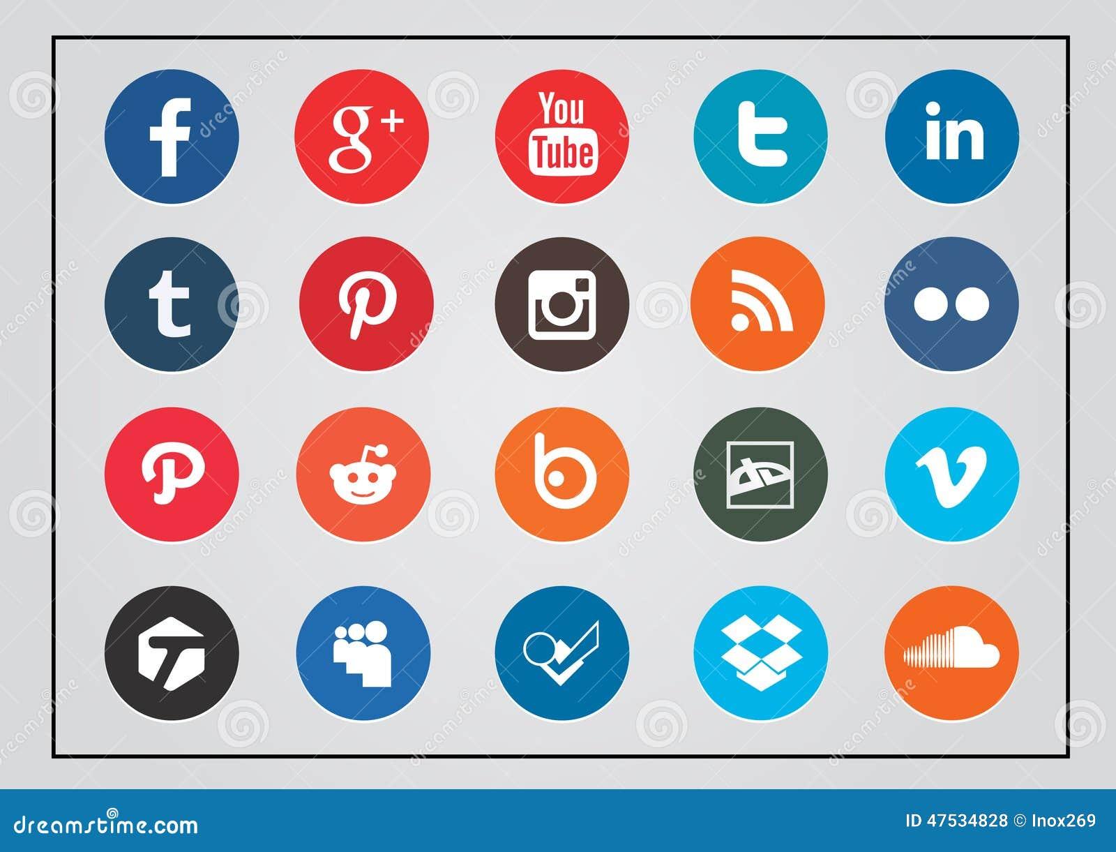 Округленный комплект значка социальной технологии и средств массовой информации