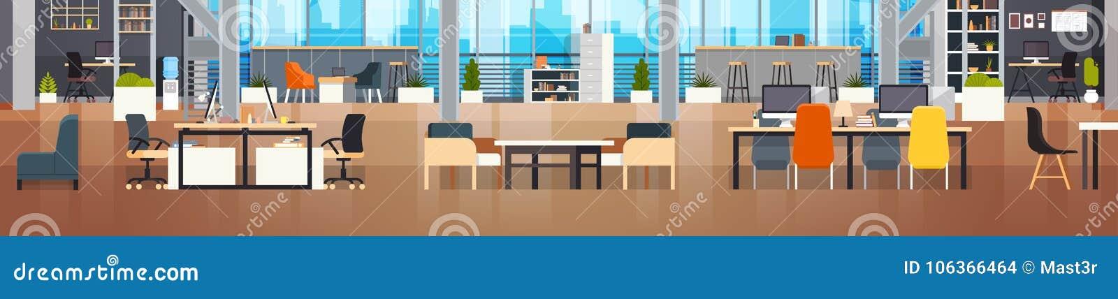 Окружающей среды рабочего места Coworking офиса Coworking знамя внутренней современной разбивочной творческой горизонтальное