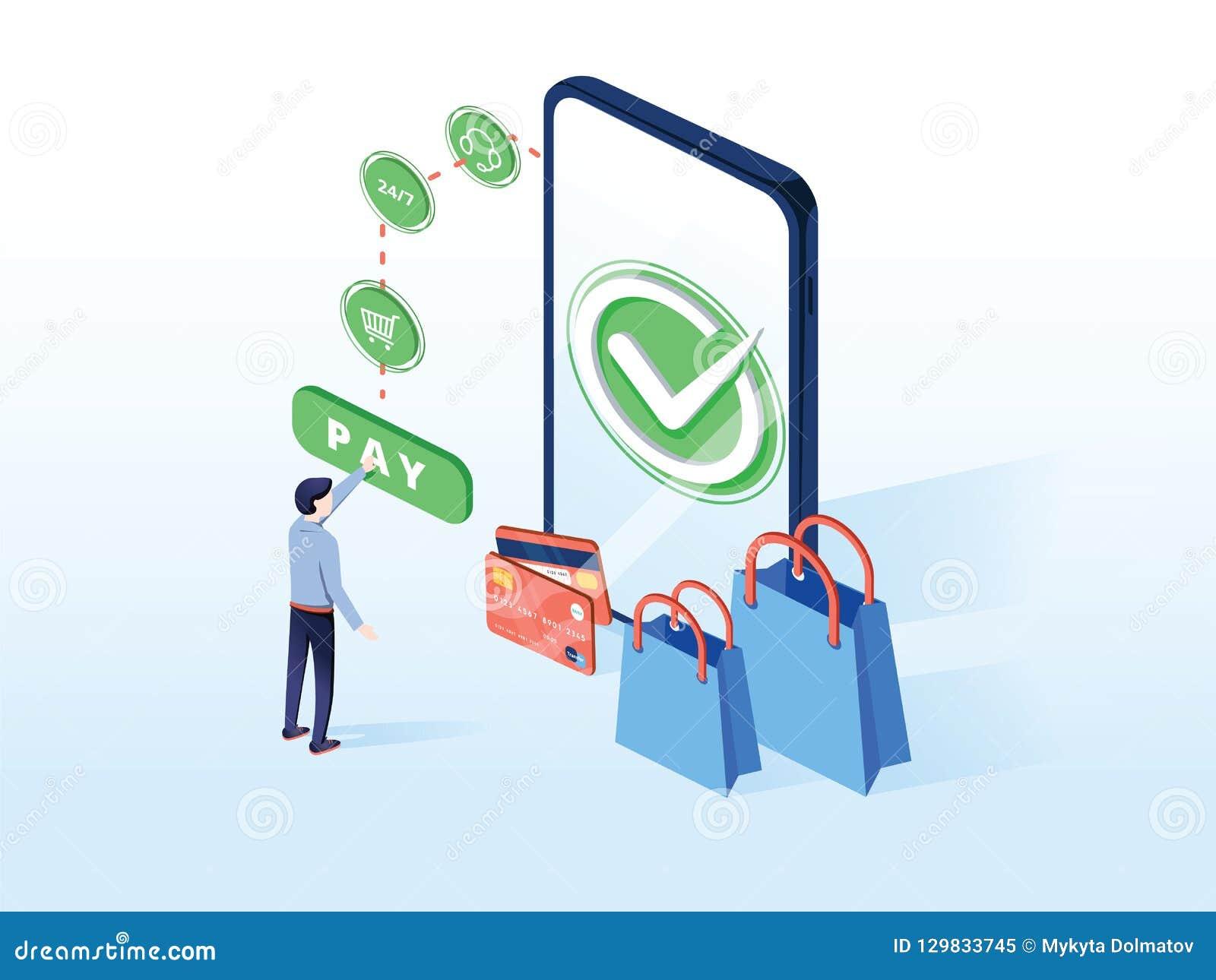 Онлайн иллюстрация вектора коммерции для технологии e-дела или электронной коммерции Мобильное приложение для оплаты с кредитной