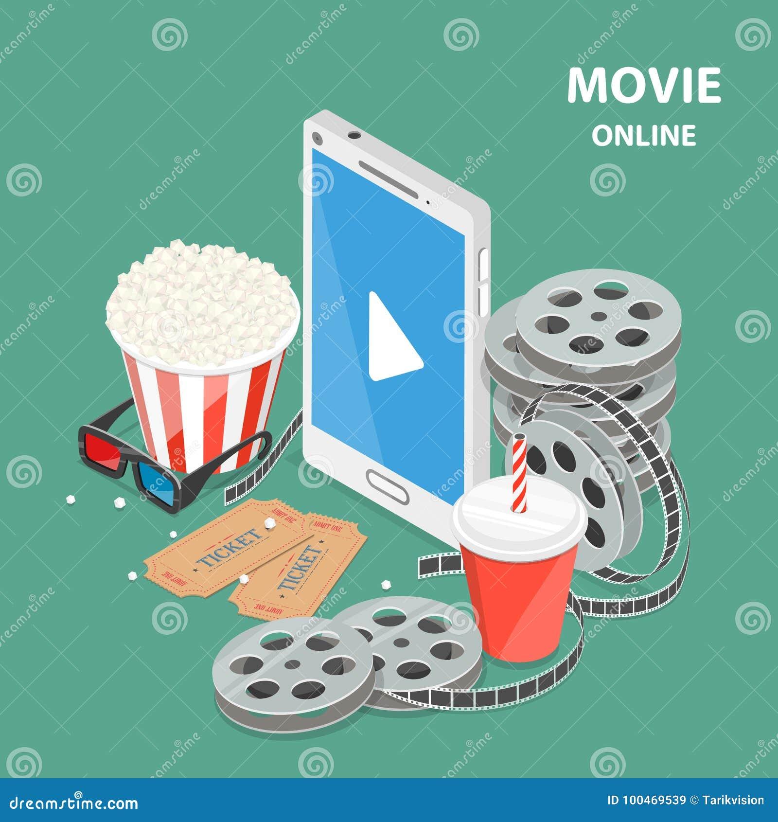 Онлайн концепция вектора кино плоско равновеликая низкая поли