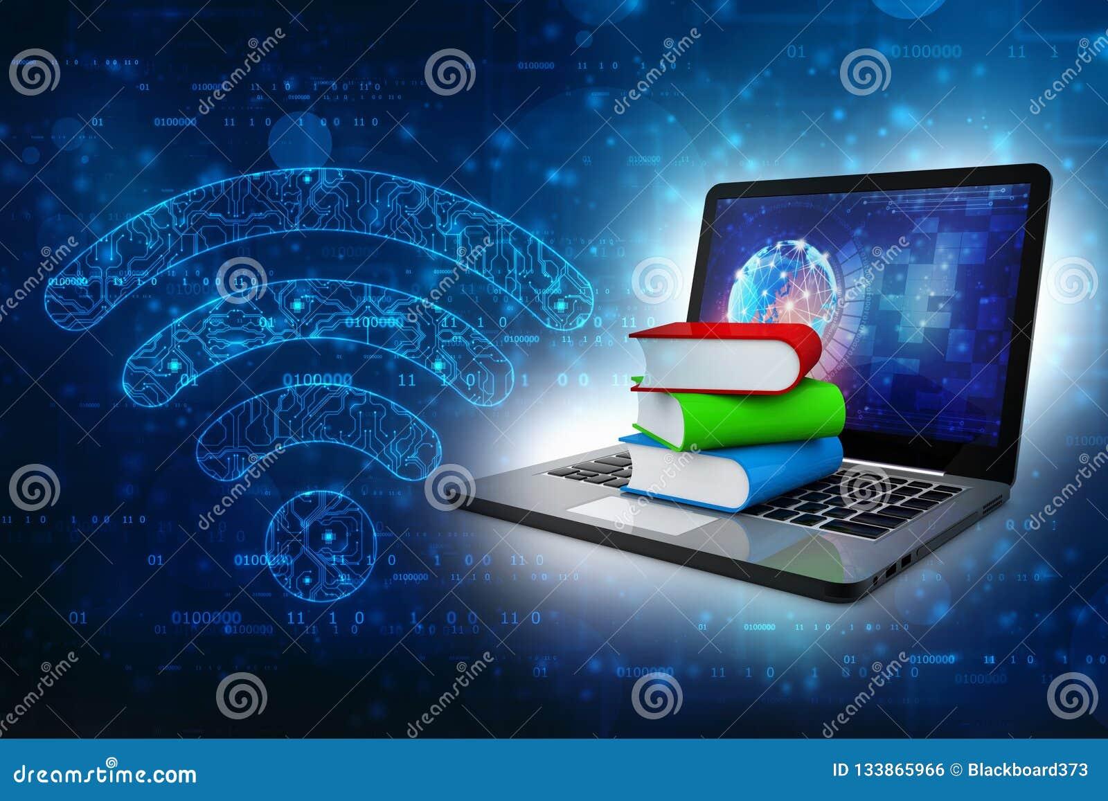 Онлайн концепция образования - портативный компьютер с красочными книгами перевод 3d