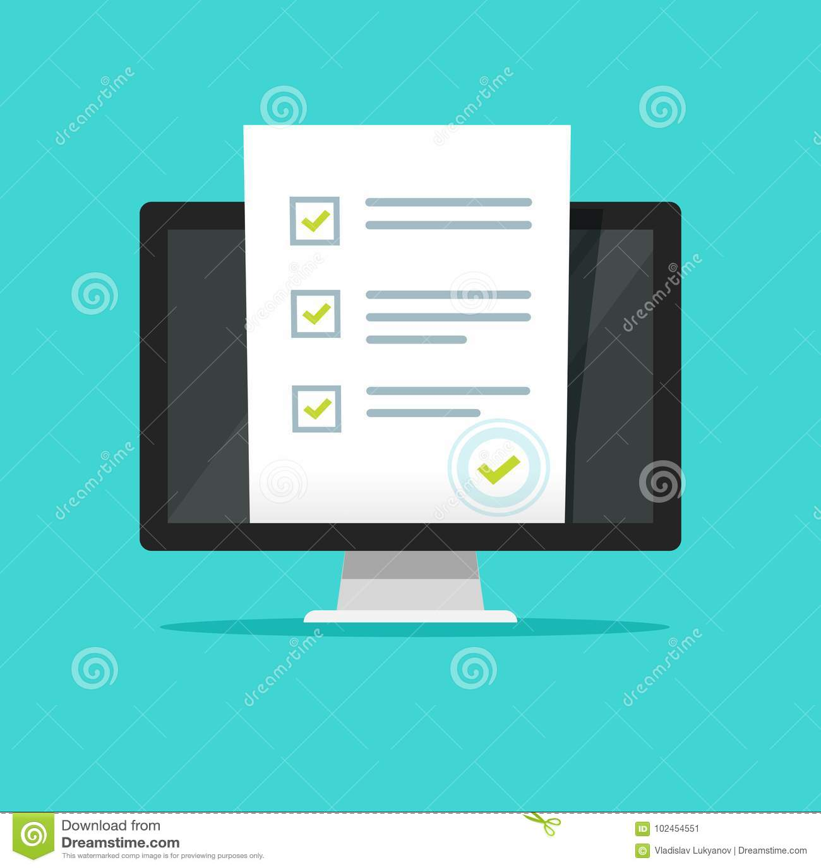 Онлайн обзор формы на иллюстрации вектора компьютера ПК, плоском дисплее монитора дизайна шаржа показывая лист бумаги экзамена ви