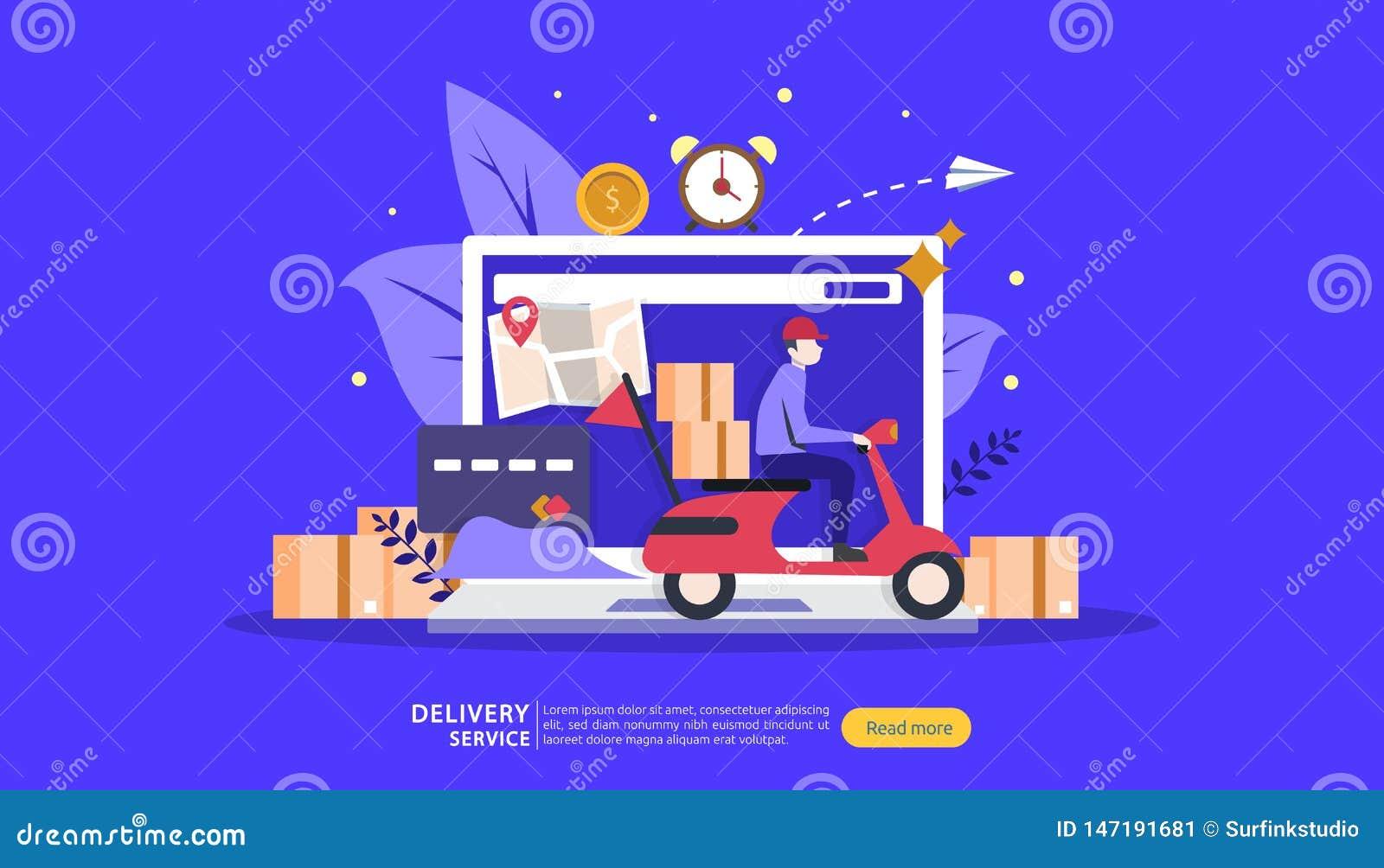 Онлайн обслуживание доставки концепция заказа срочная отслеживая с крошечной тележкой коробки характера и груза шаблон для страни