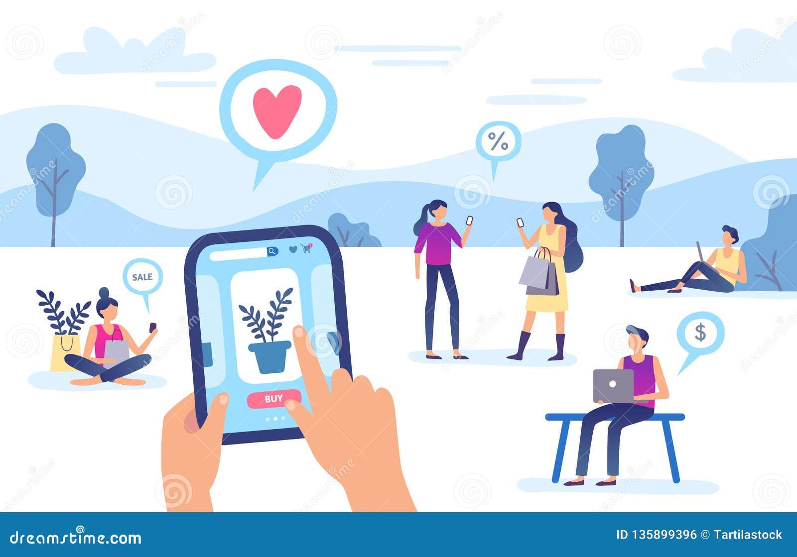 Онлайн приобретение Магазин интернета, передаточный платеж безопасностью смартфона и иллюстрация вектора оплаты сети ходя по мага