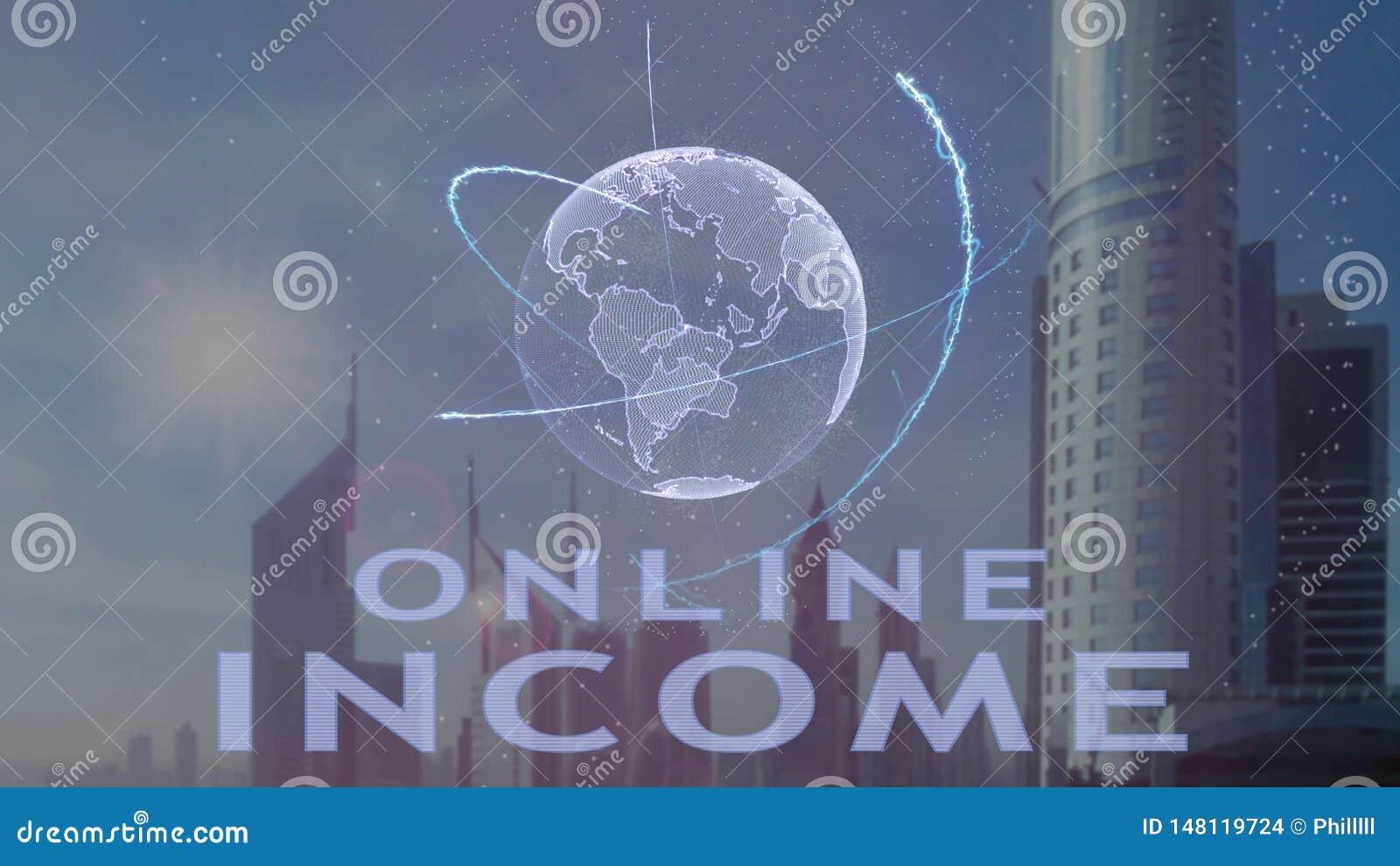 Онлайн текст дохода с hologram 3d земли планеты против фона современной метрополии