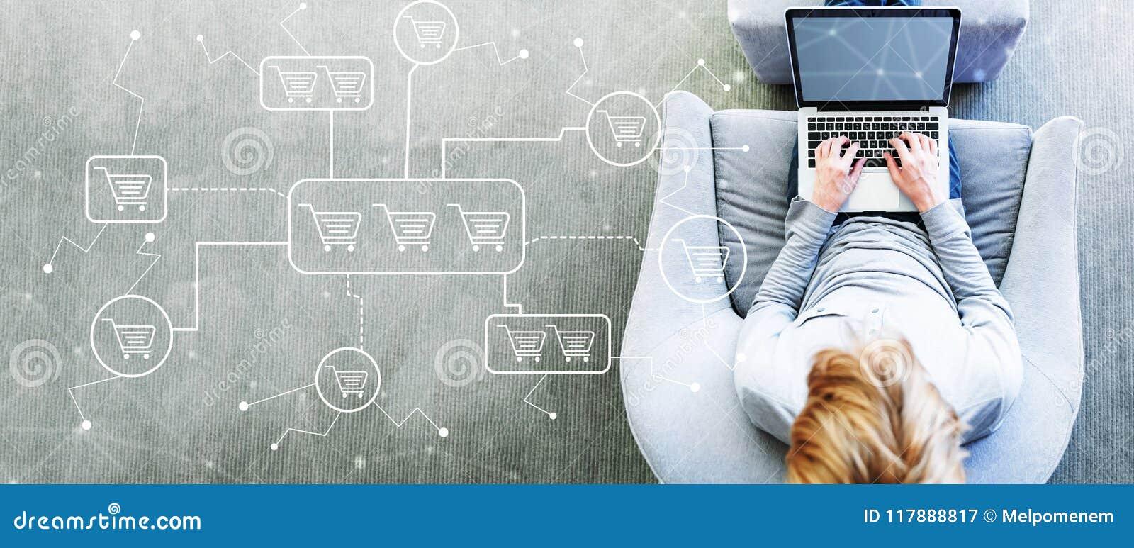 Онлайн тема покупок при человек используя компьтер-книжку