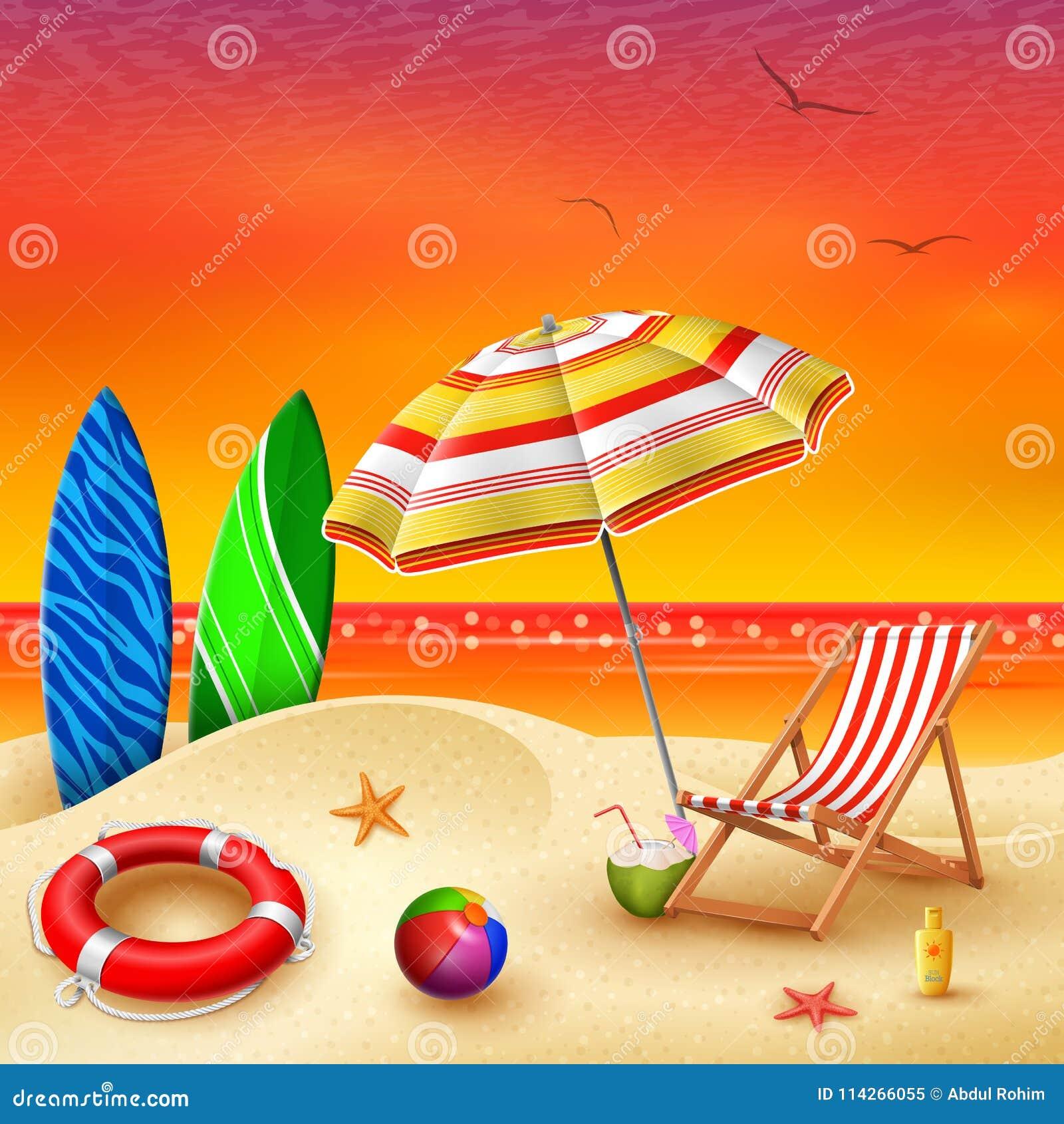 Оно знамя временени ` s с striped стулом, зонтиком, surfboard и lifebuoy на предпосылке лета захода солнца