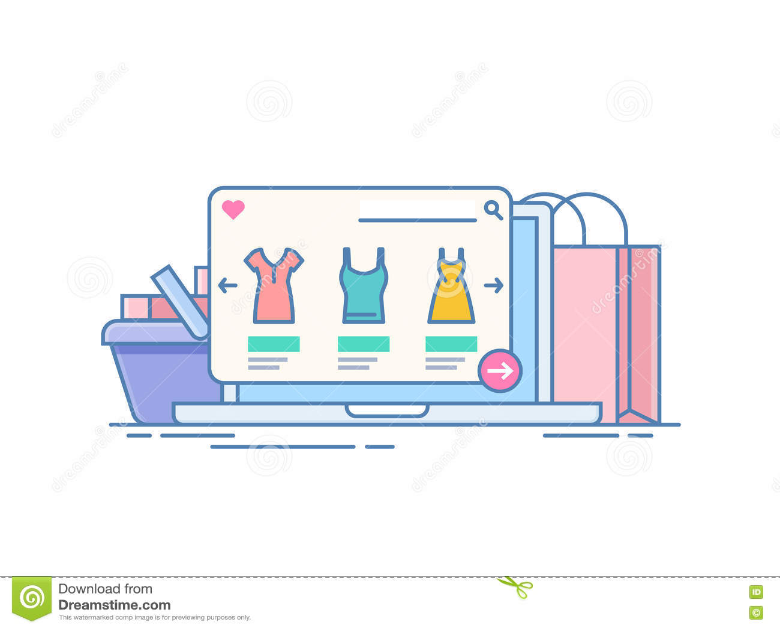 Онлайн магазин Концепция приобретения на интернете через применение на компьтер-книжке Компьютер на предпосылке