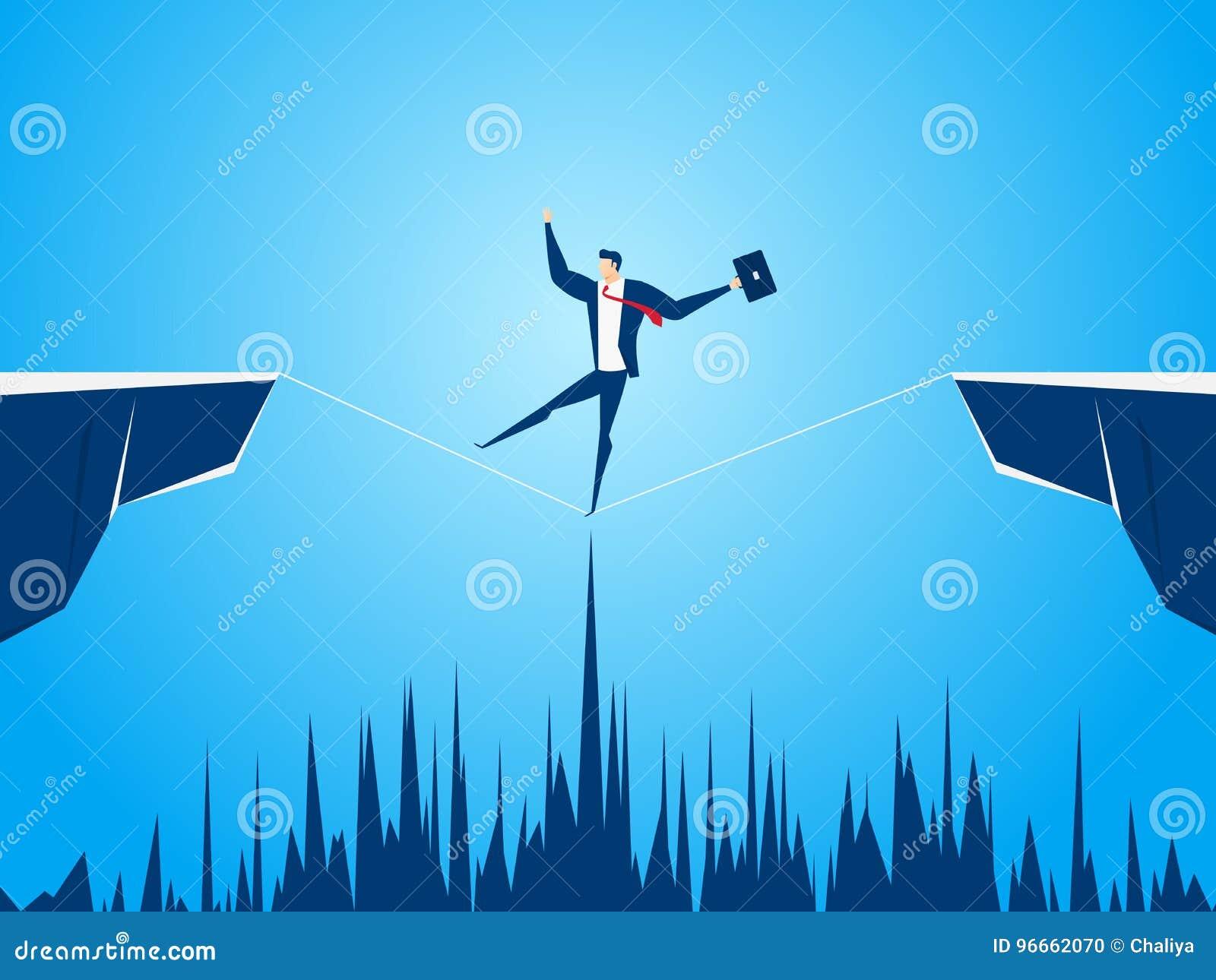 Опасное положение бизнесмена идя через зазор между холмом Идти над скалами Деловой риск и концепция успеха