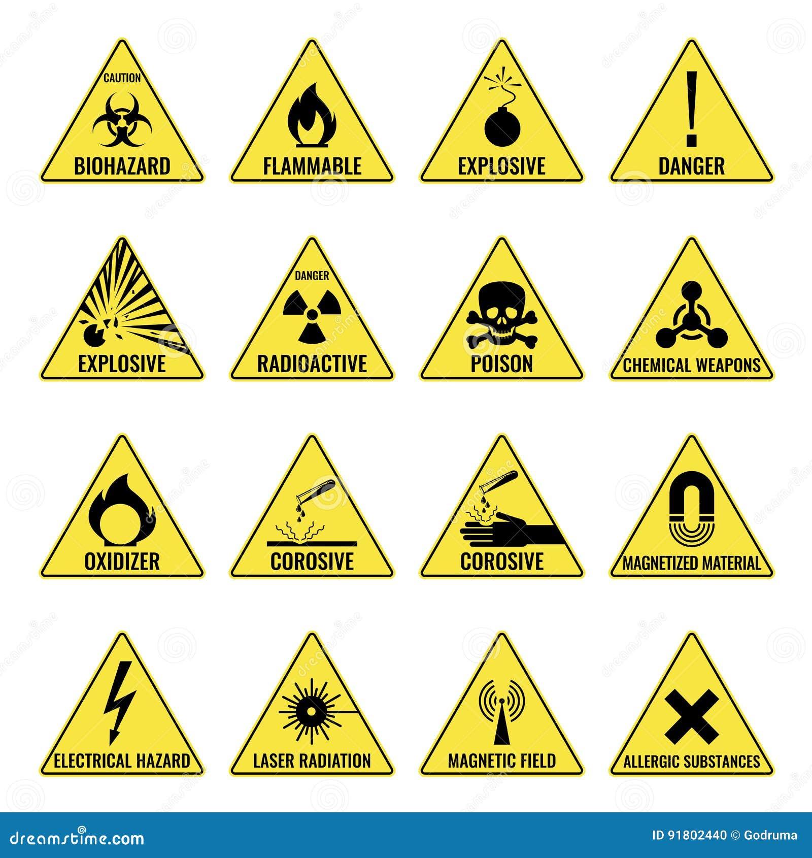 Опасность предупреждая triangual желтый значок установила на белизну