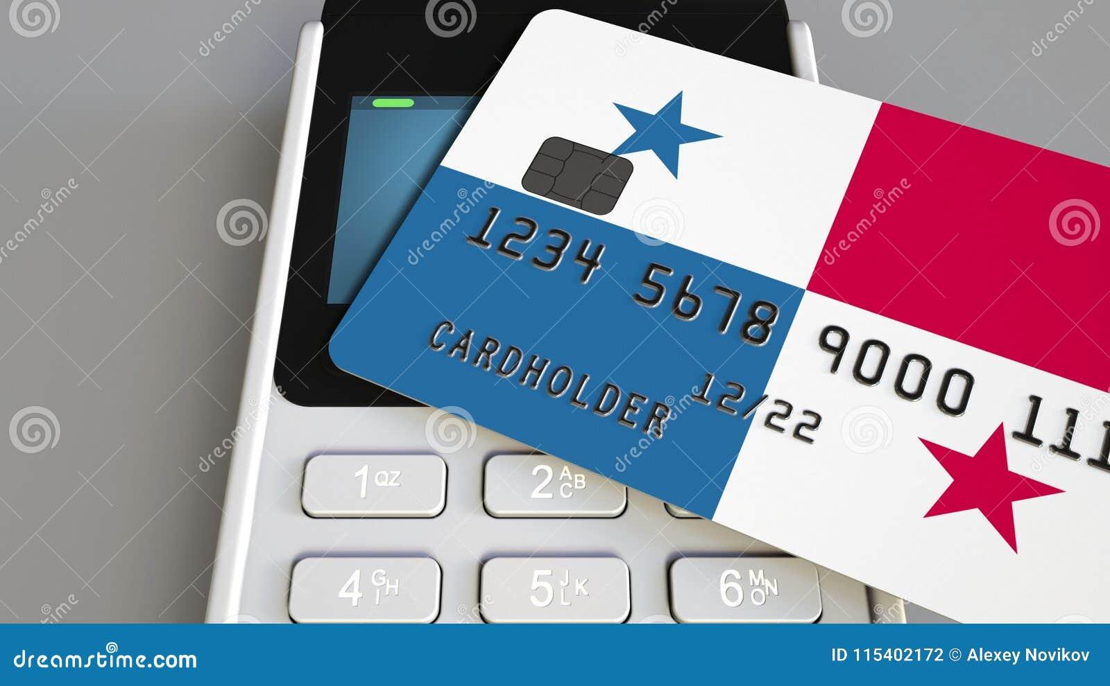 Оплата или стержень POS при кредитная карточка отличая флагом Панамы Коммерция или банковская система розницы Panamian схематичес