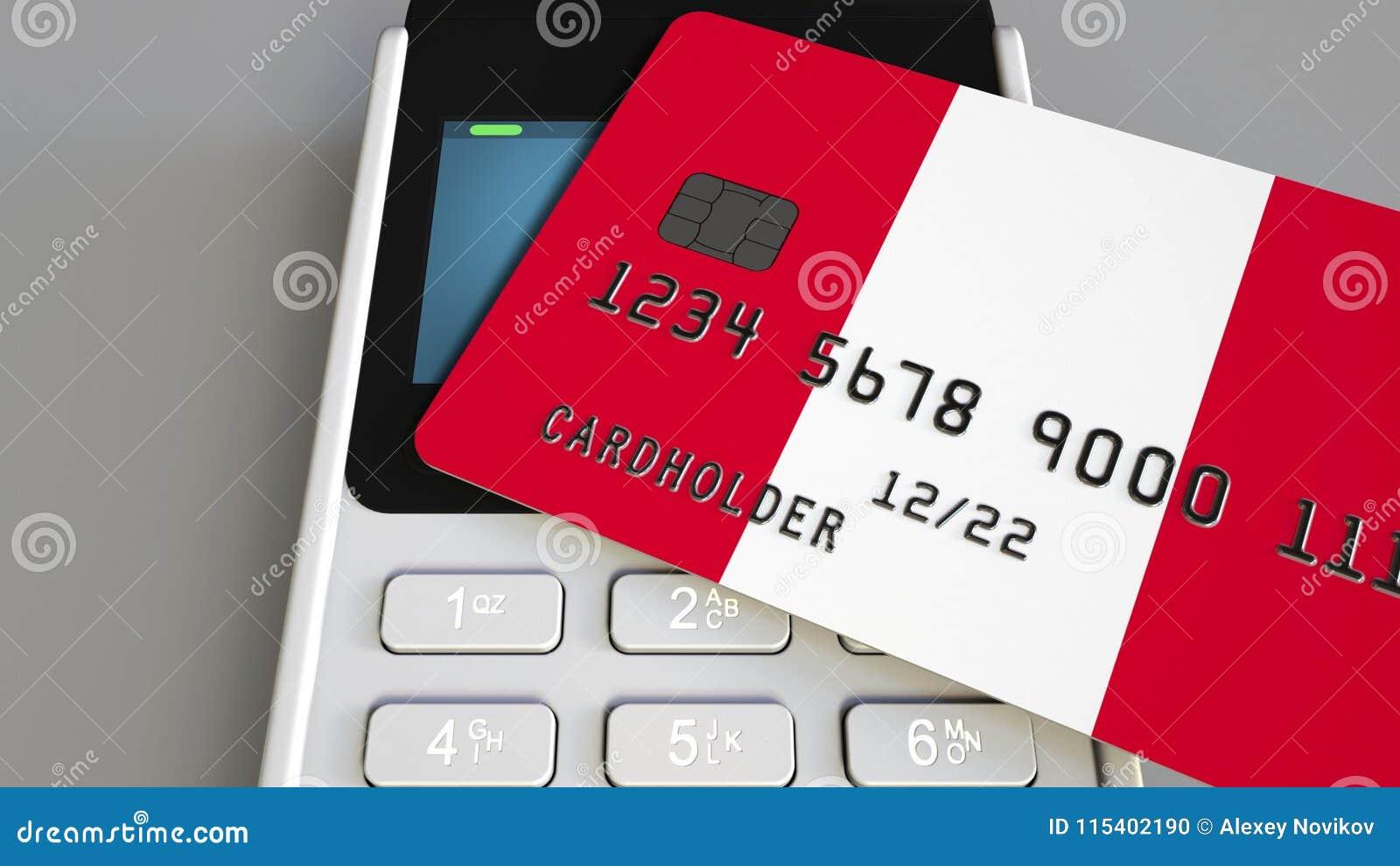 Оплата или стержень POS при кредитная карточка отличая флагом Перу Перуанские розничные коммерция или банковская система схематич