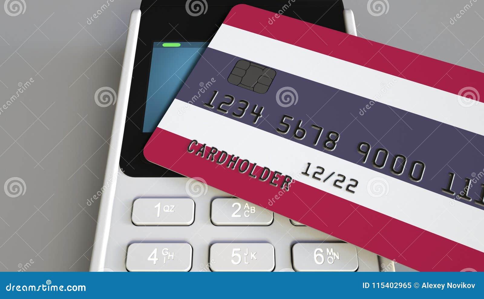 Оплата или стержень POS при кредитная карточка отличая флагом Таиланда Тайские розничные коммерция или банковская система схемати
