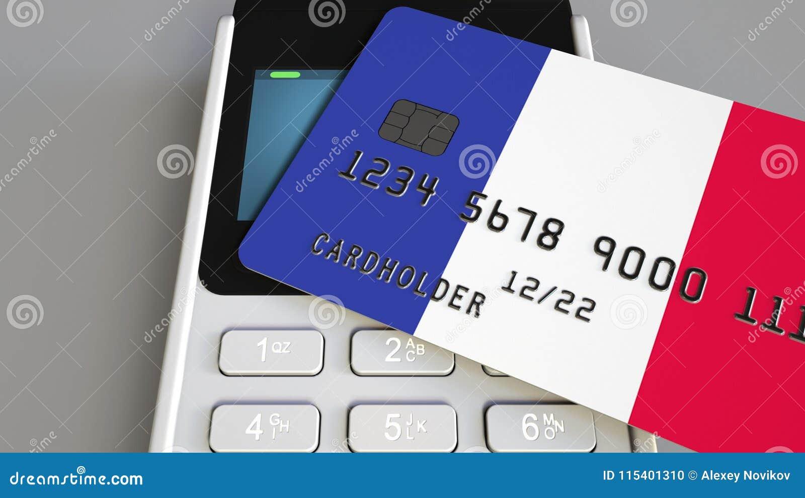 Оплата или стержень POS при кредитная карточка отличая флагом Франции Французские розничные коммерция или банковская система схем
