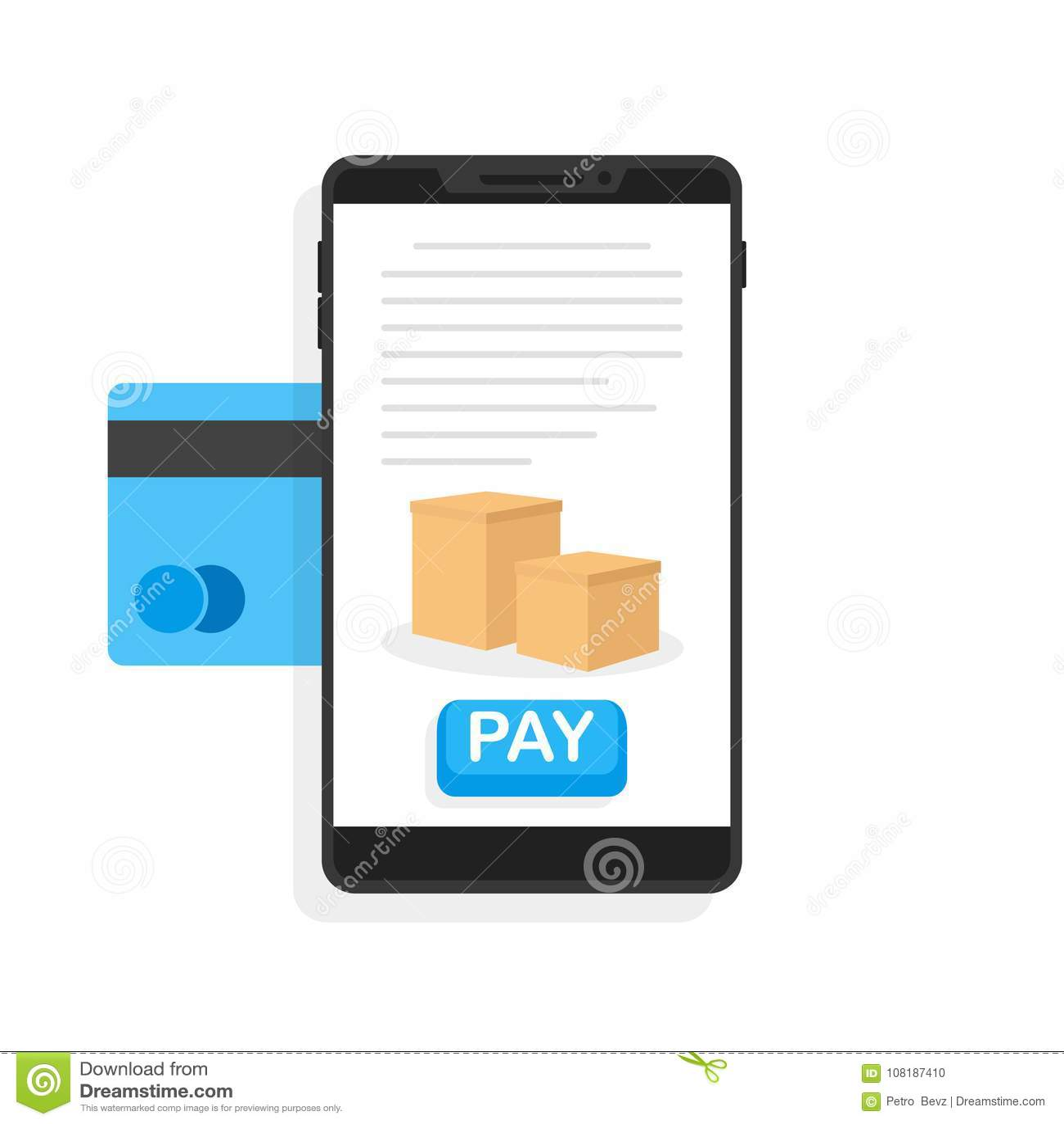 Оплаты через кредитную карточку Приобретение через передвижной app также вектор иллюстрации притяжки corel
