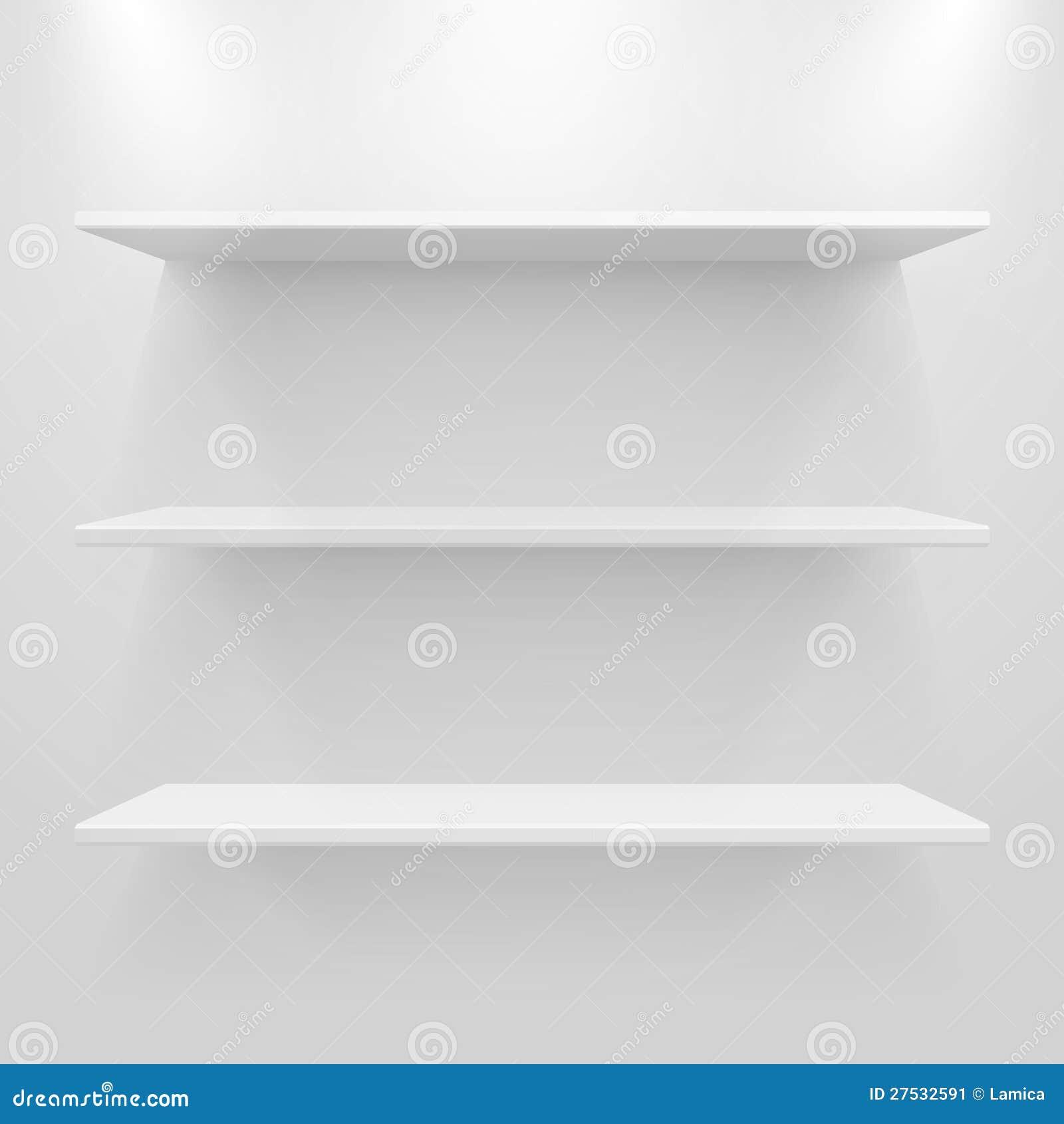 Опорожните белые полки на свете - серой предпосылке