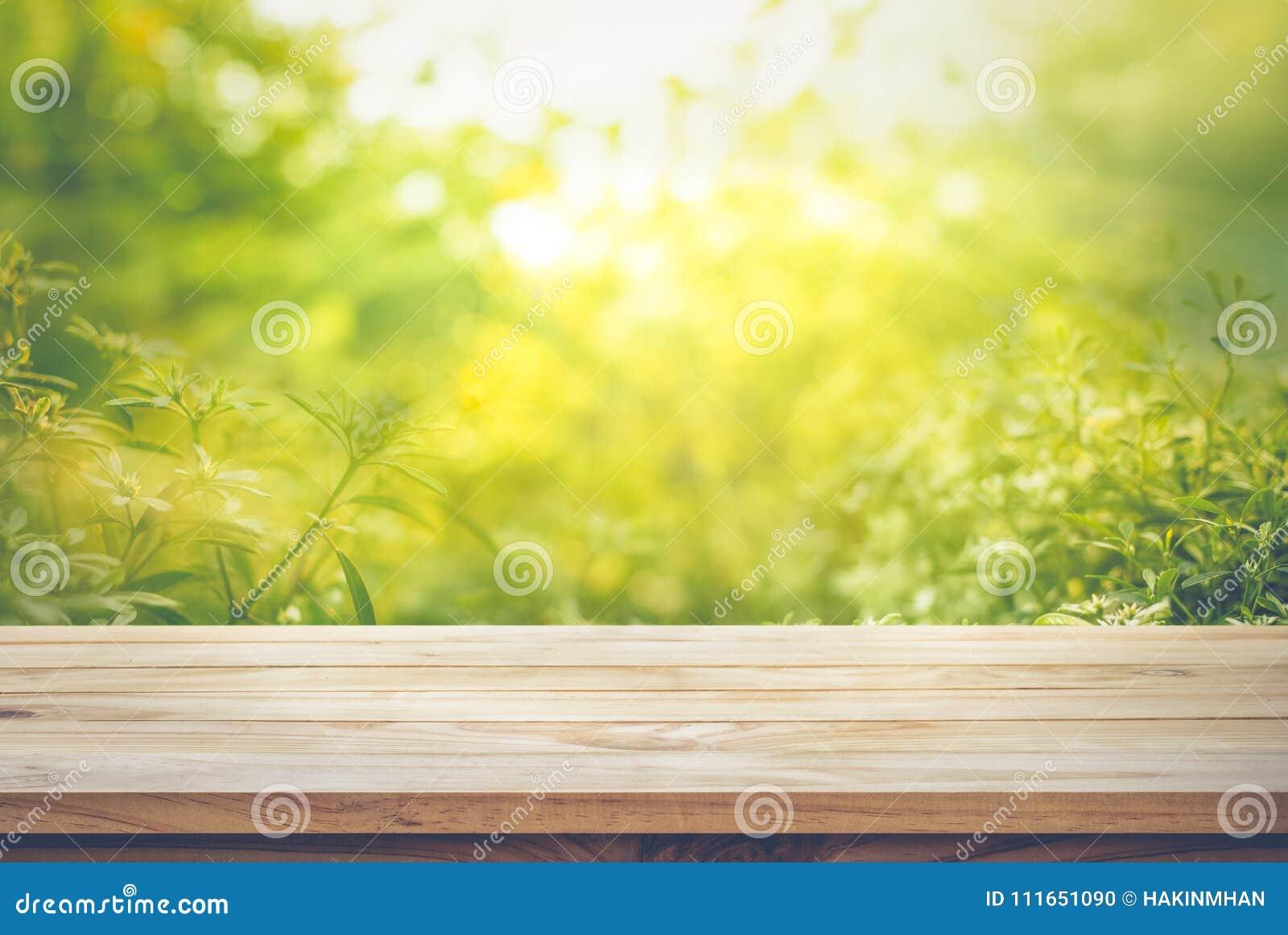 Опорожните деревянной столешницы на нерезкости свежего зеленого конспекта от сада