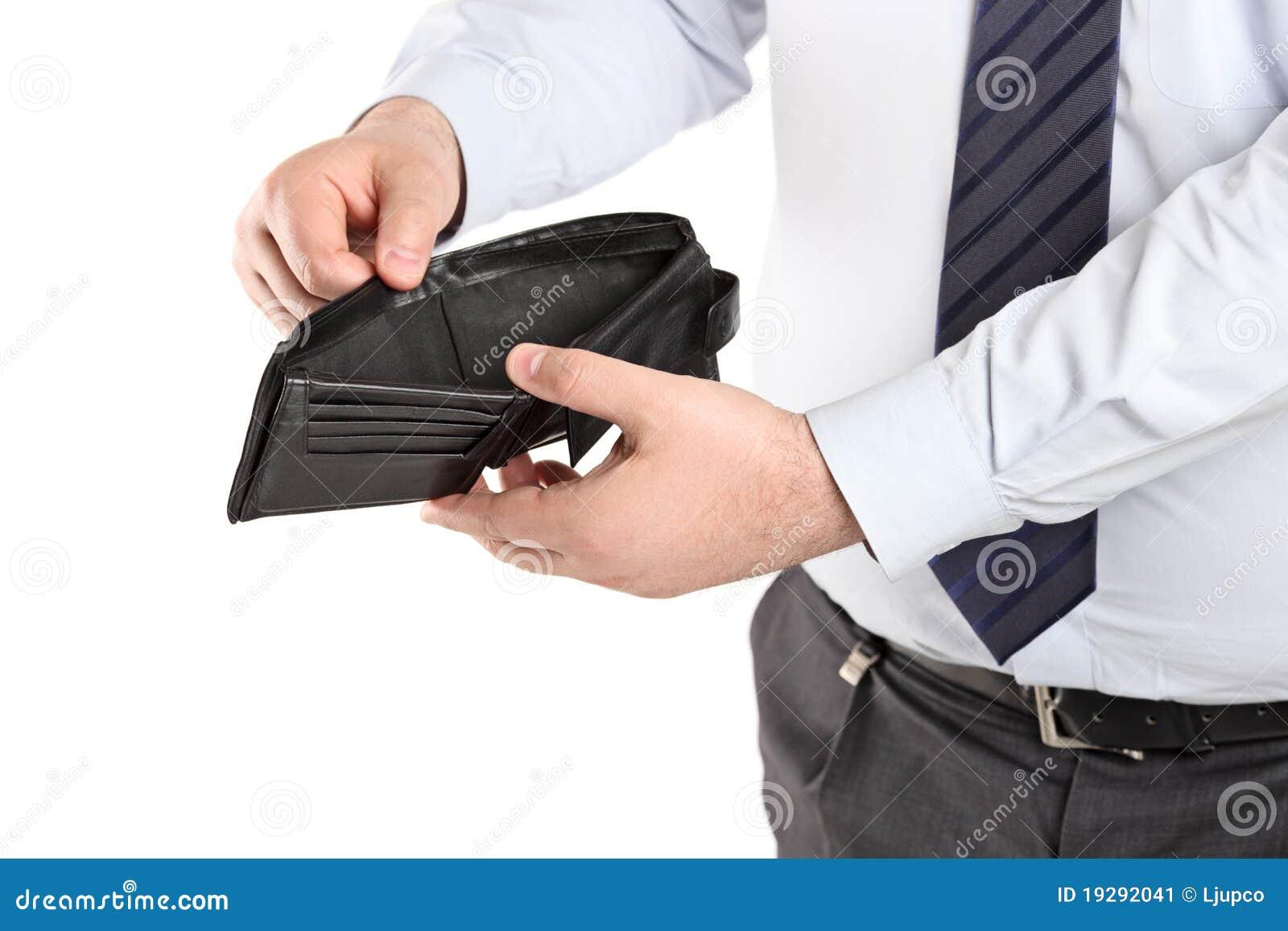 опорожните его человека показывая бумажник
