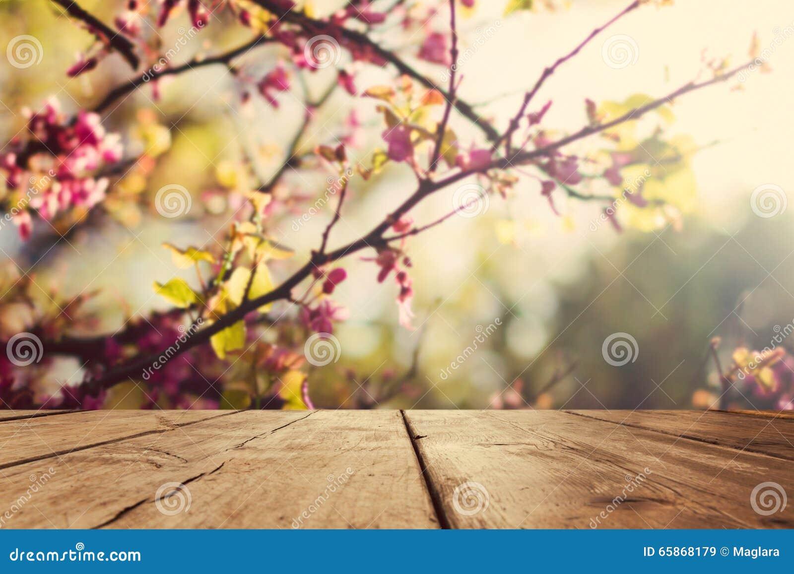 Опорожните деревянную винтажную доску таблицы над предпосылкой bokeh цветения весны