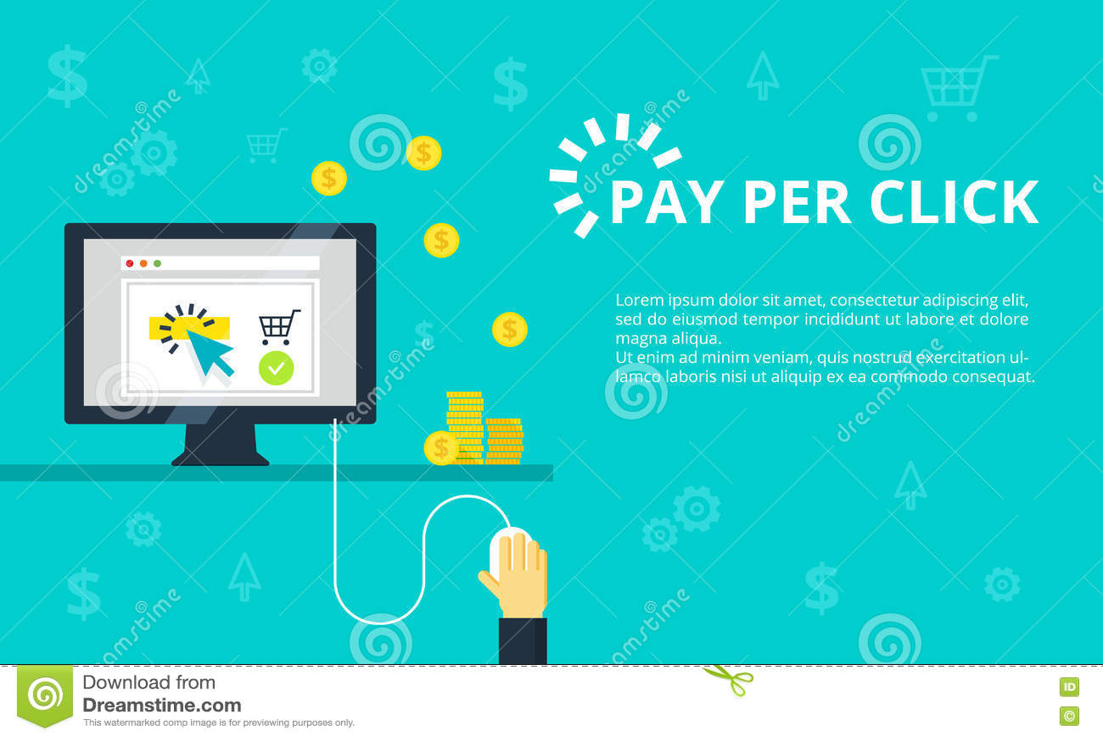 Оплата в иллюстрацию щелчка Маркетинг интернета, концепция рекламы в линии и плоский стиль