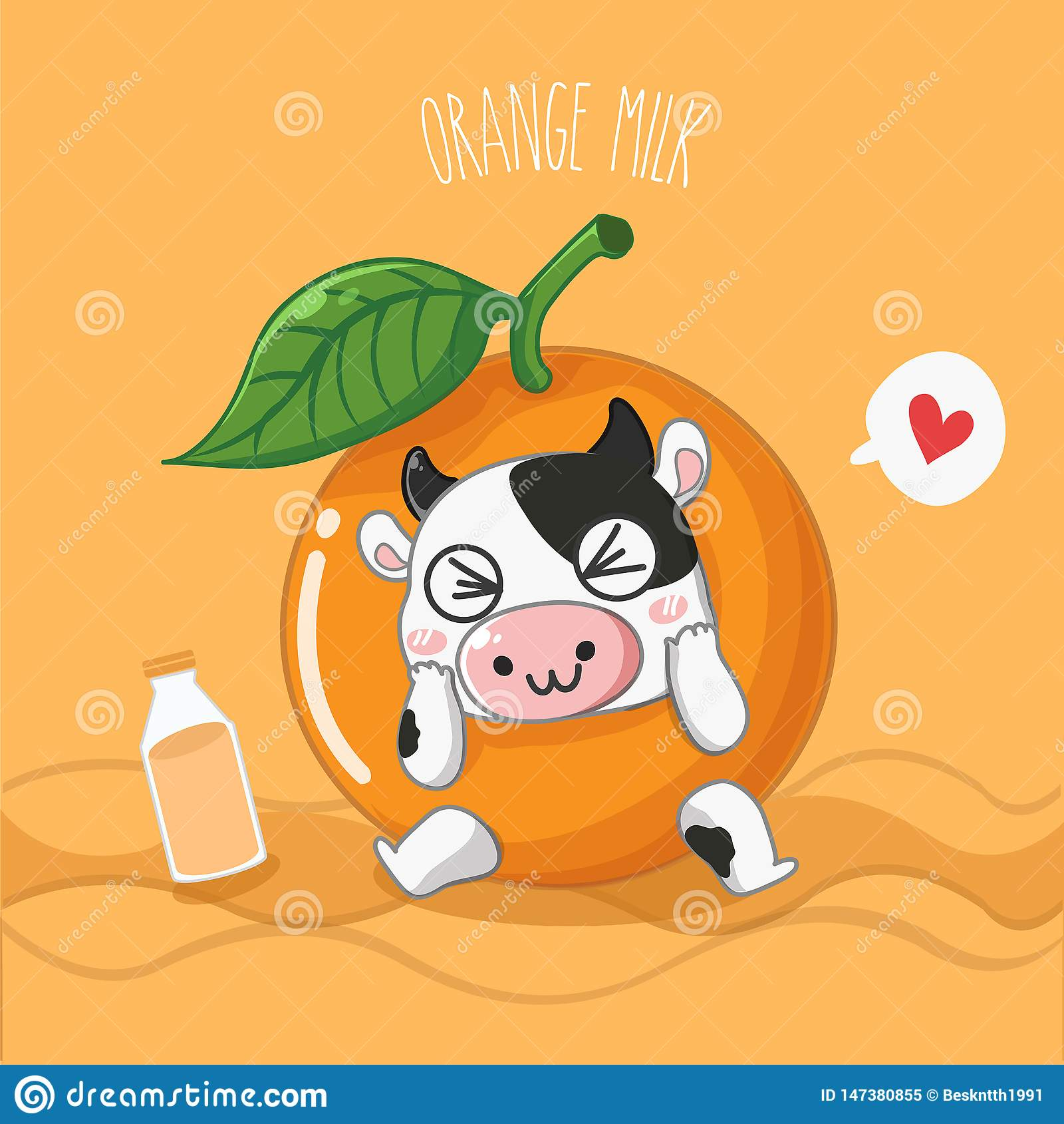 Оранжевая молочная корова молока очень милая