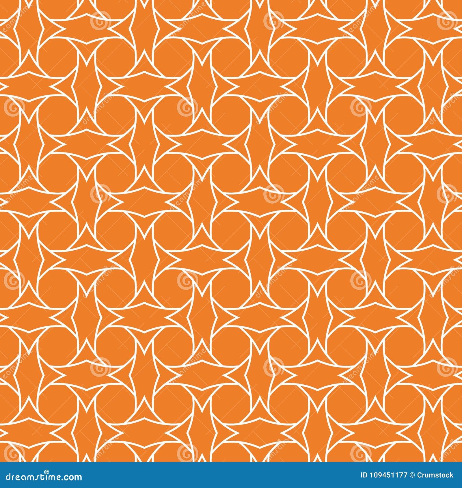 Оранжевый геометрический орнамент картина безшовная