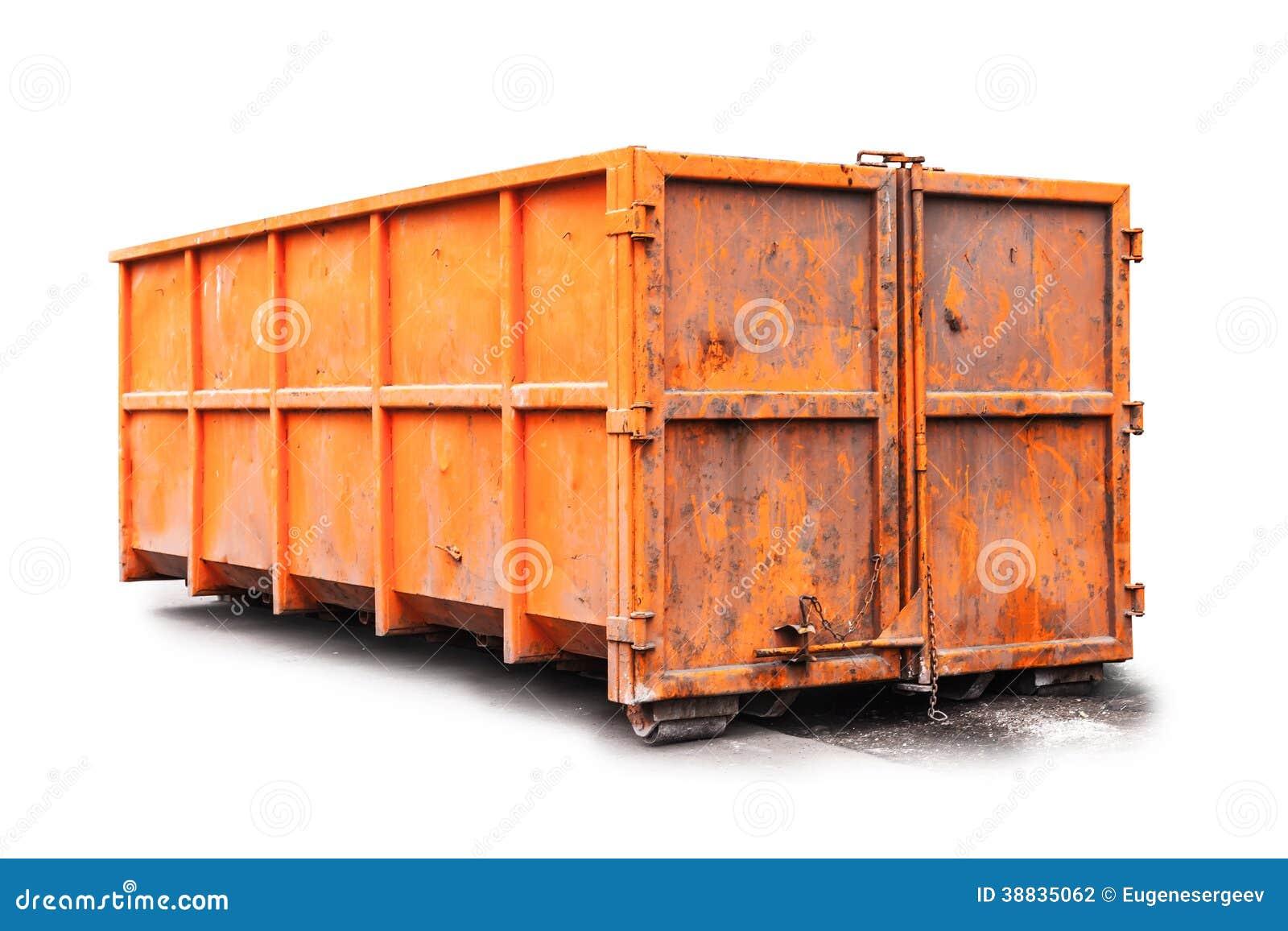 Оранжевый контейнер погани изолированный на белизне