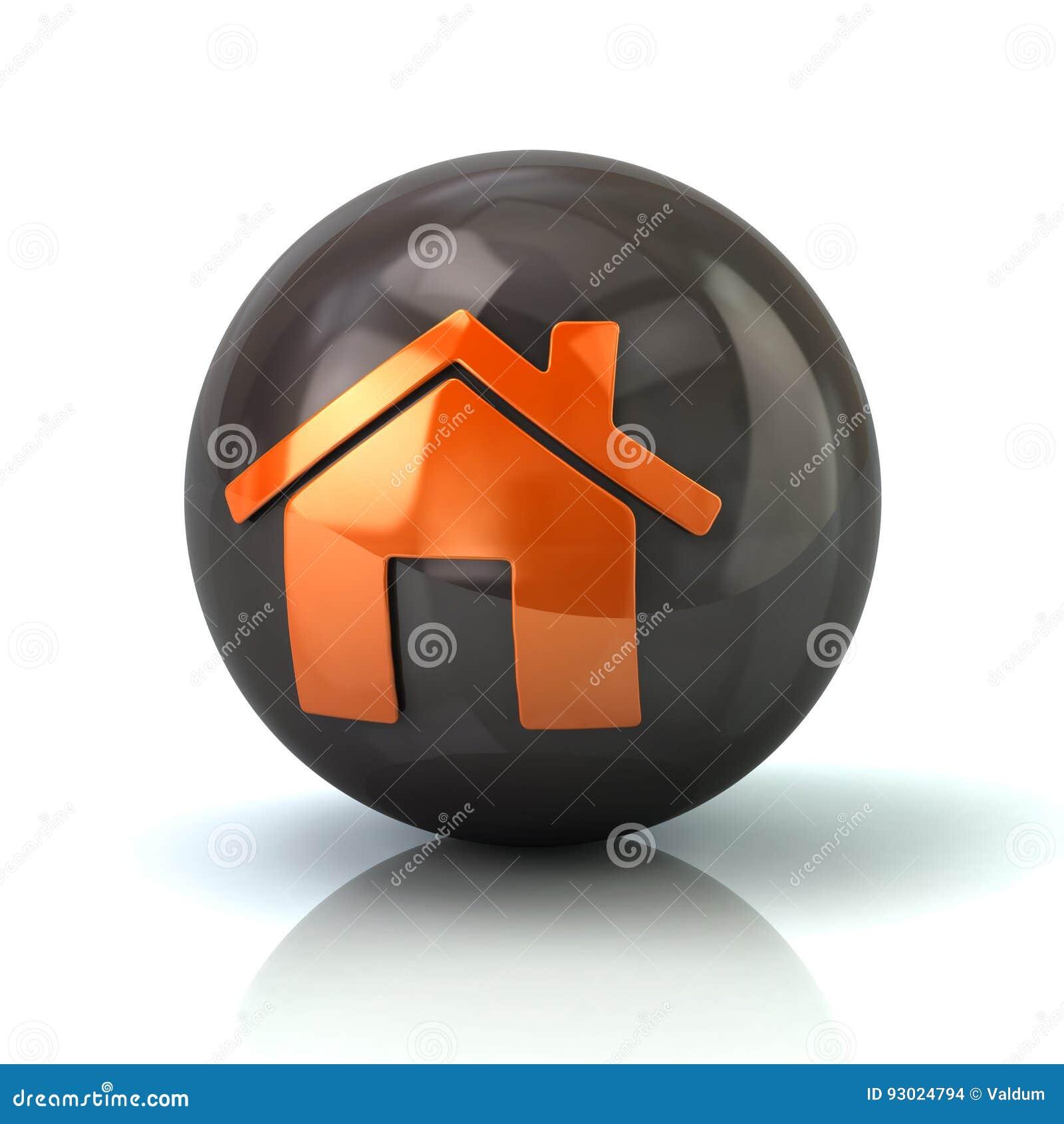Оранжевый домашний значок на черной лоснистой сфере