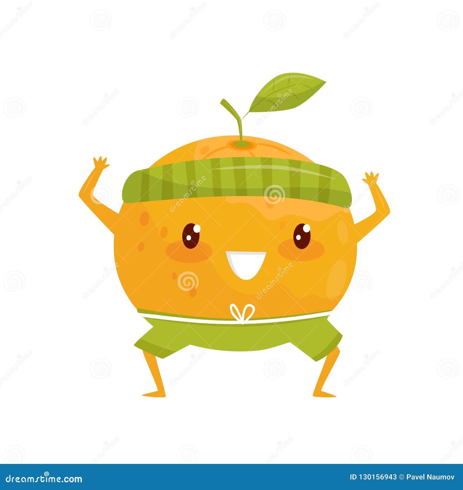Оранжевый плод делая спорт, sportive персонаж из мультфильма плода делая иллюстрацию вектора тренировки фитнеса на белом