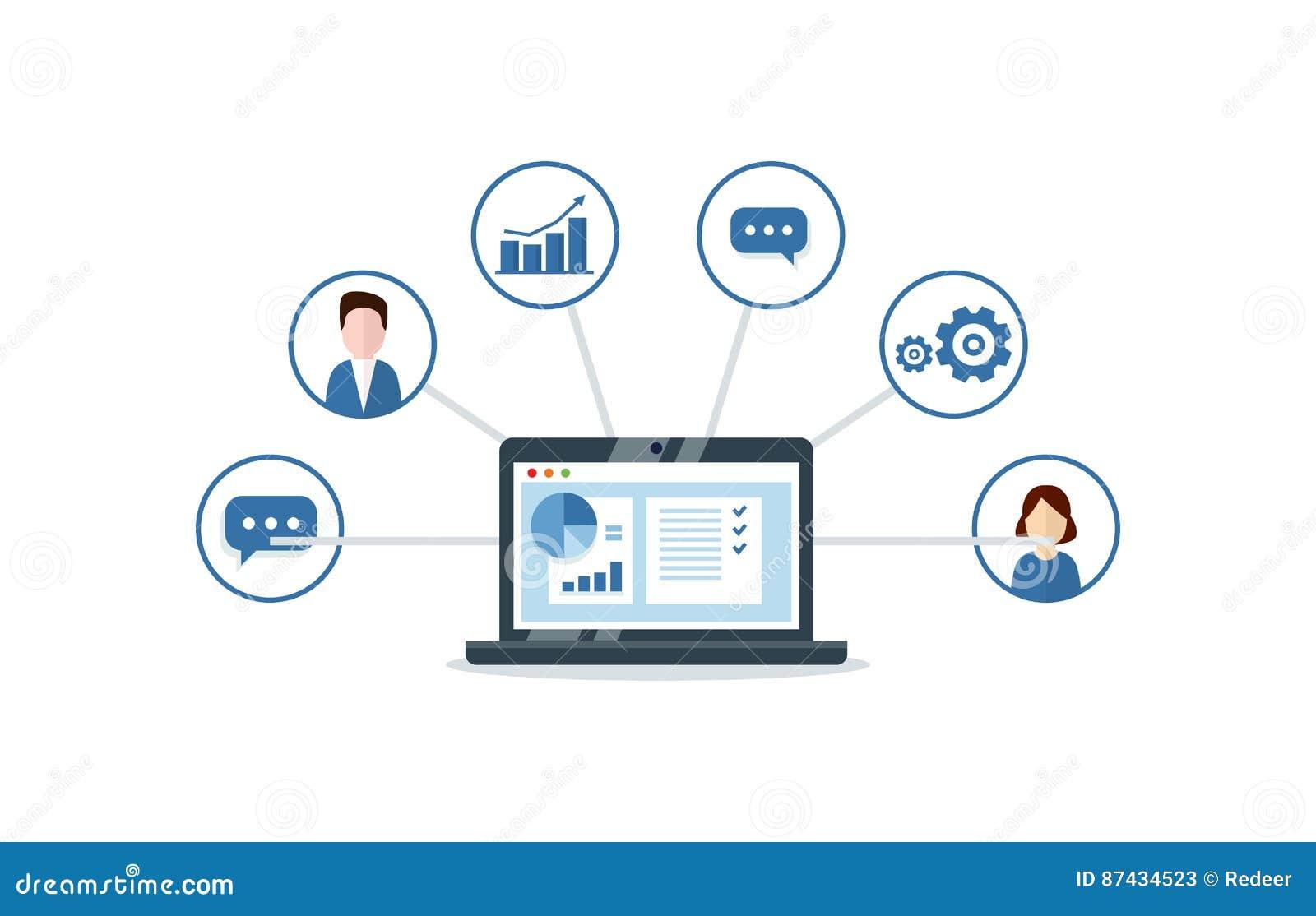 Организация данных на работе с клиентами, концепции CRM Иллюстрация управления отношения клиента