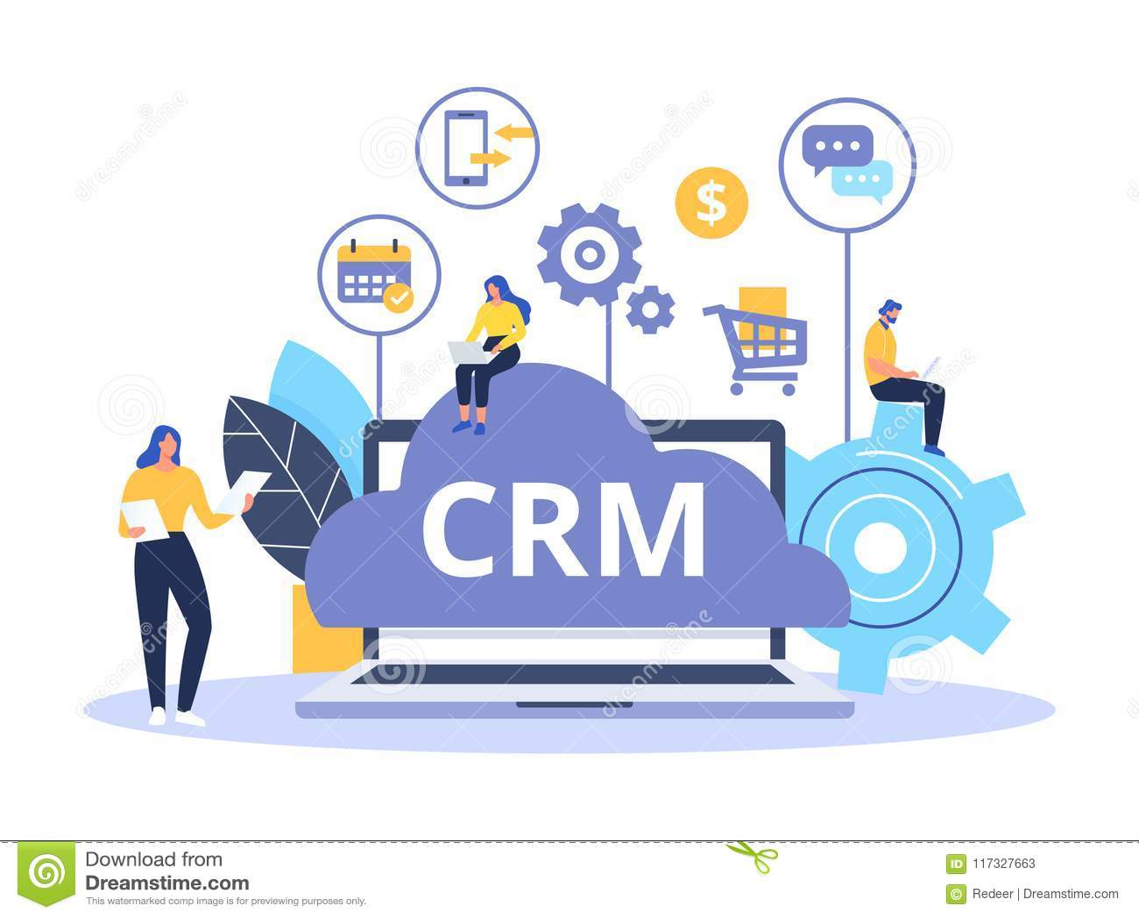 Организация данных на работе с клиентами, управлении отношения клиента Дизайн концепции CRM с элементами вектора